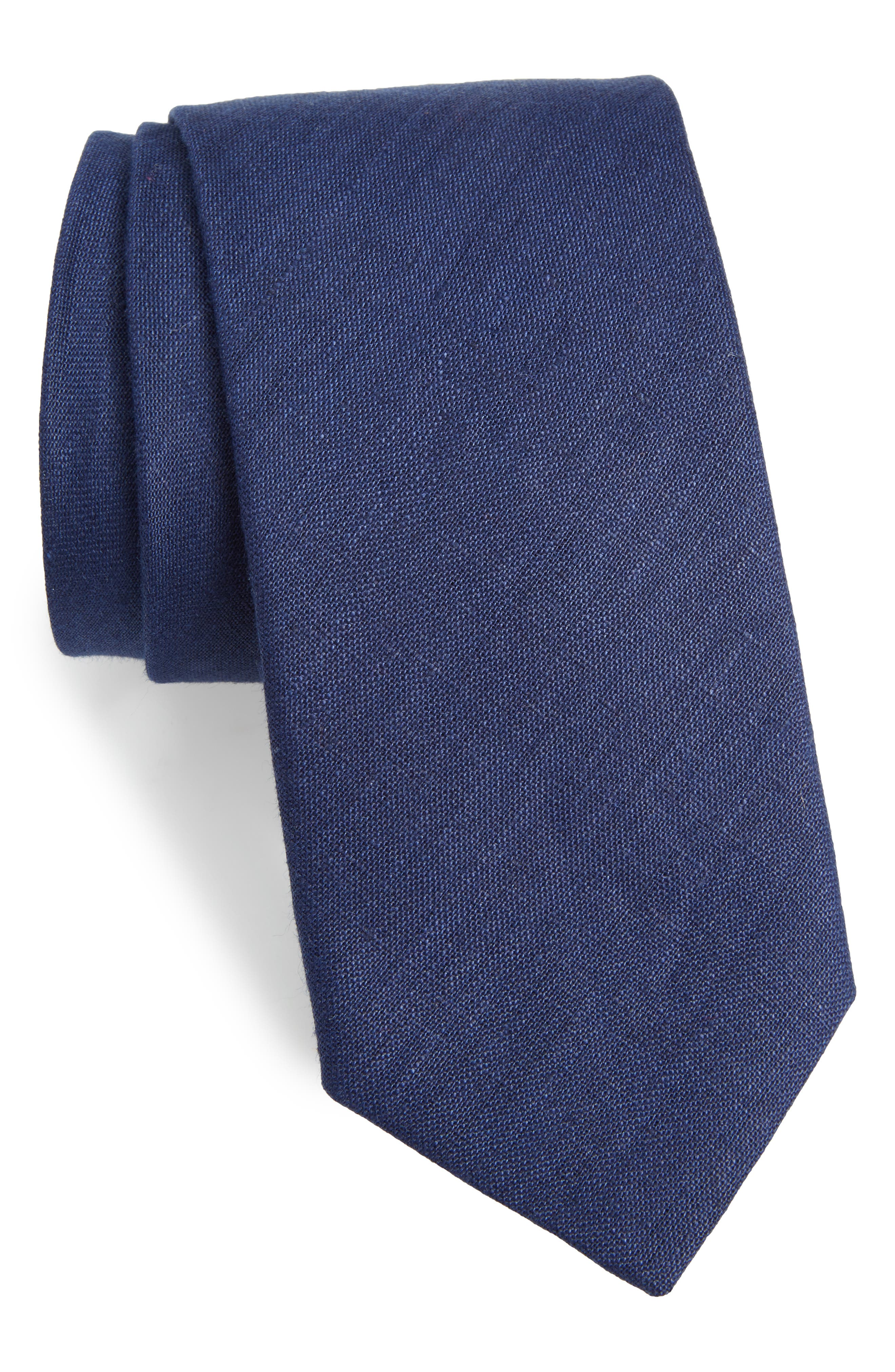 Solid Linen Tie,                             Main thumbnail 1, color,                             400