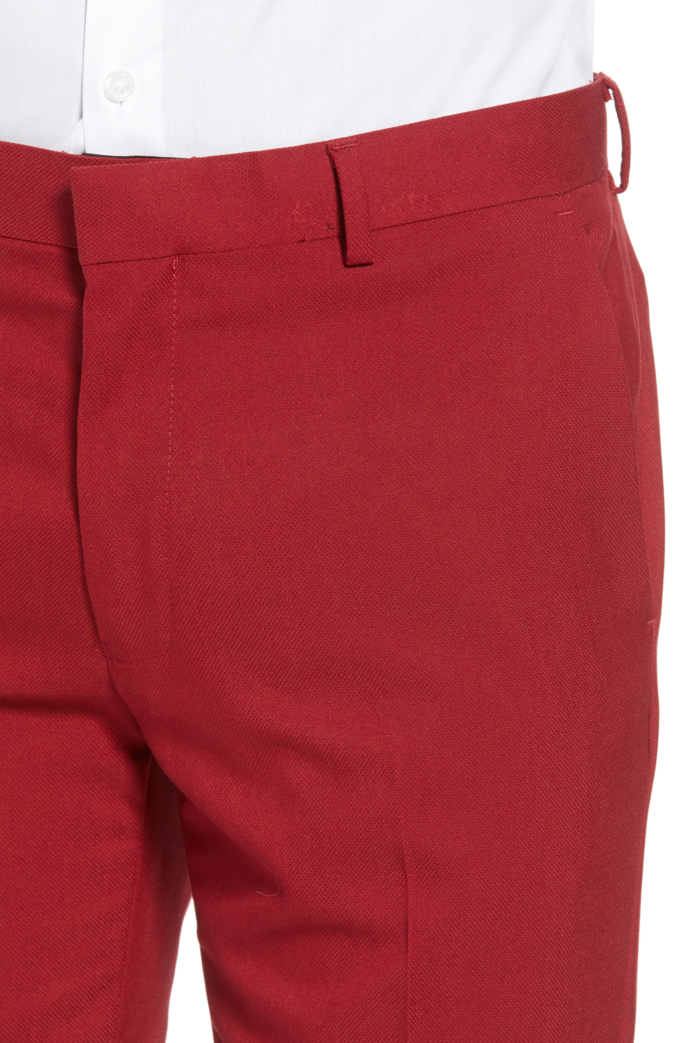 Skinny Fit Suit Trousers,                             Alternate thumbnail 4, color,                             RED