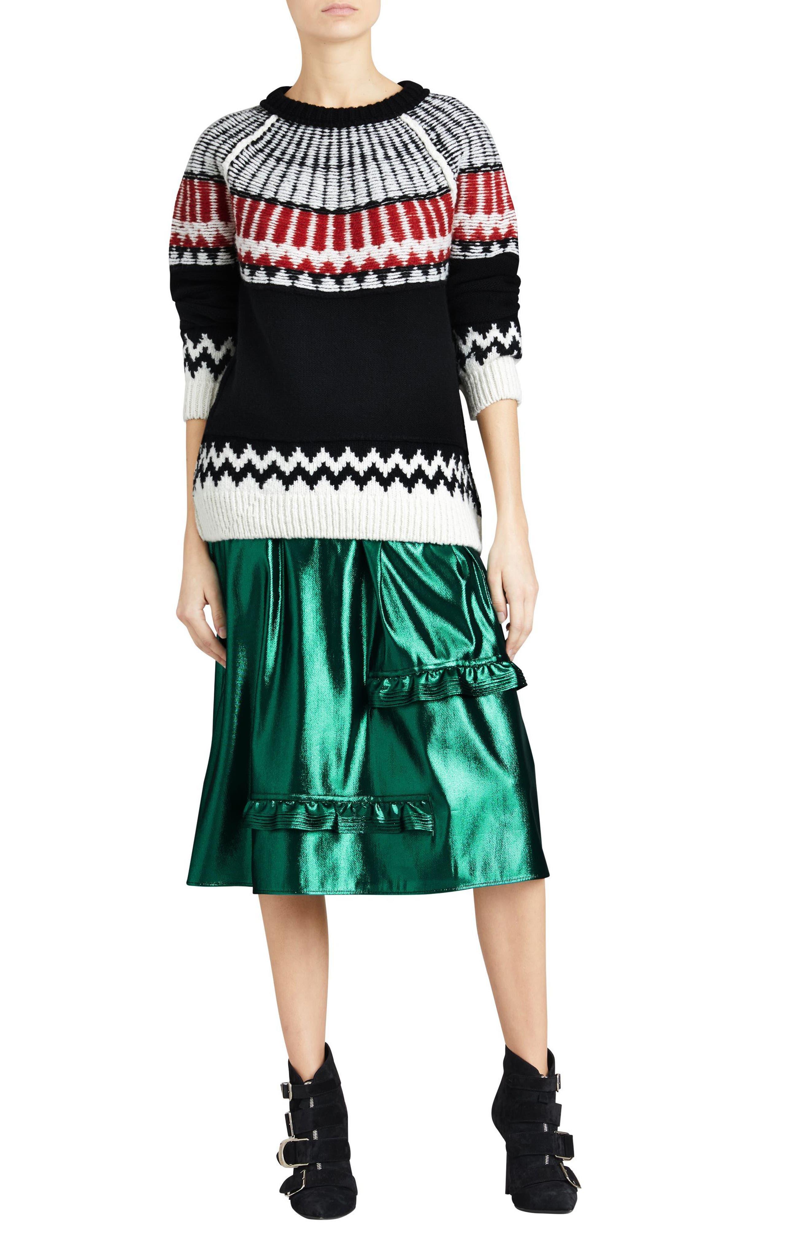 Trycroft Fair Isle Wool Blend Sweater,                             Alternate thumbnail 7, color,                             001