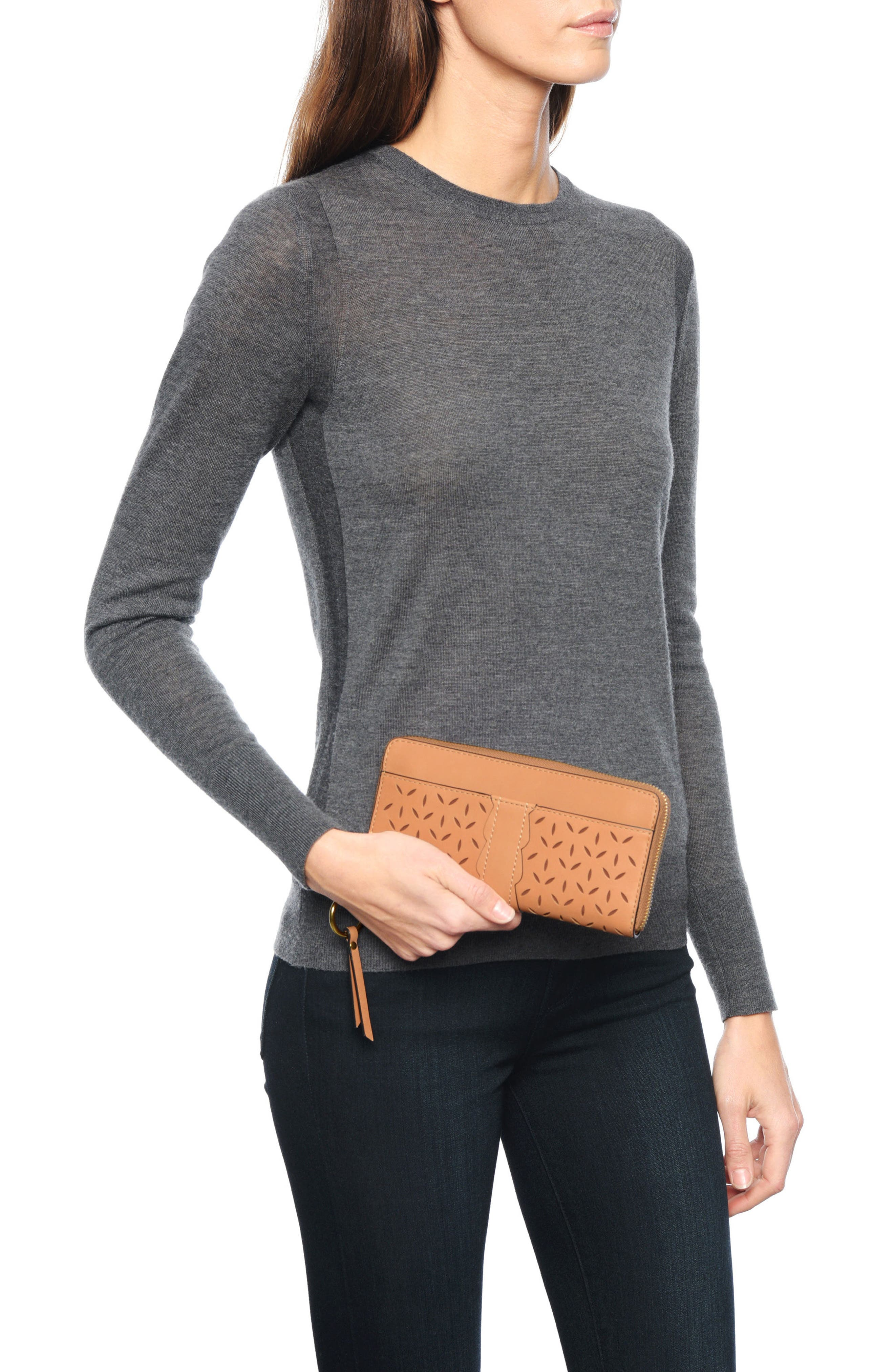 Large Ilana Perforated Leather Zip Wallet,                             Alternate thumbnail 6, color,