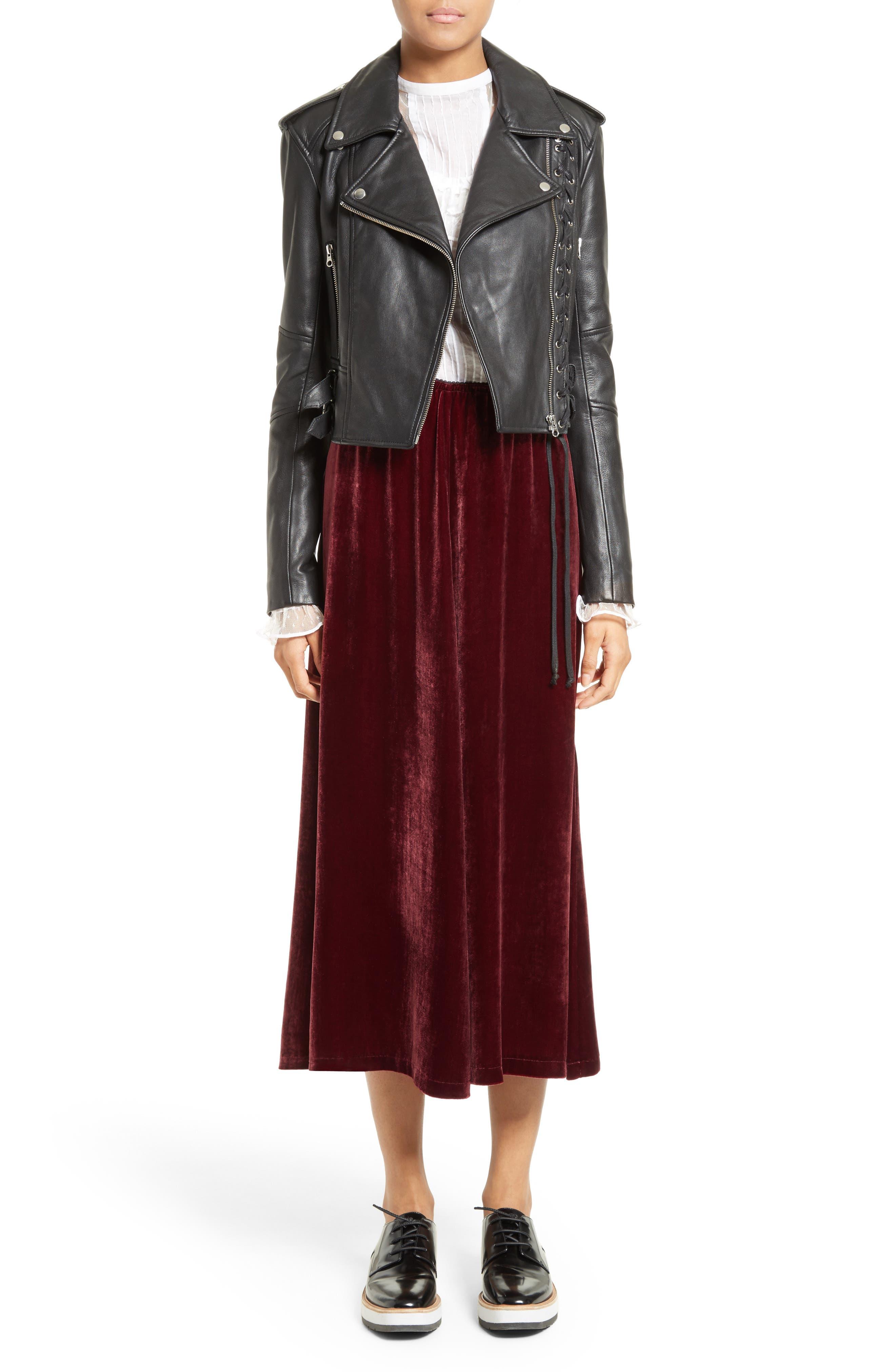 Velvet Midi Skirt,                             Alternate thumbnail 6, color,                             601