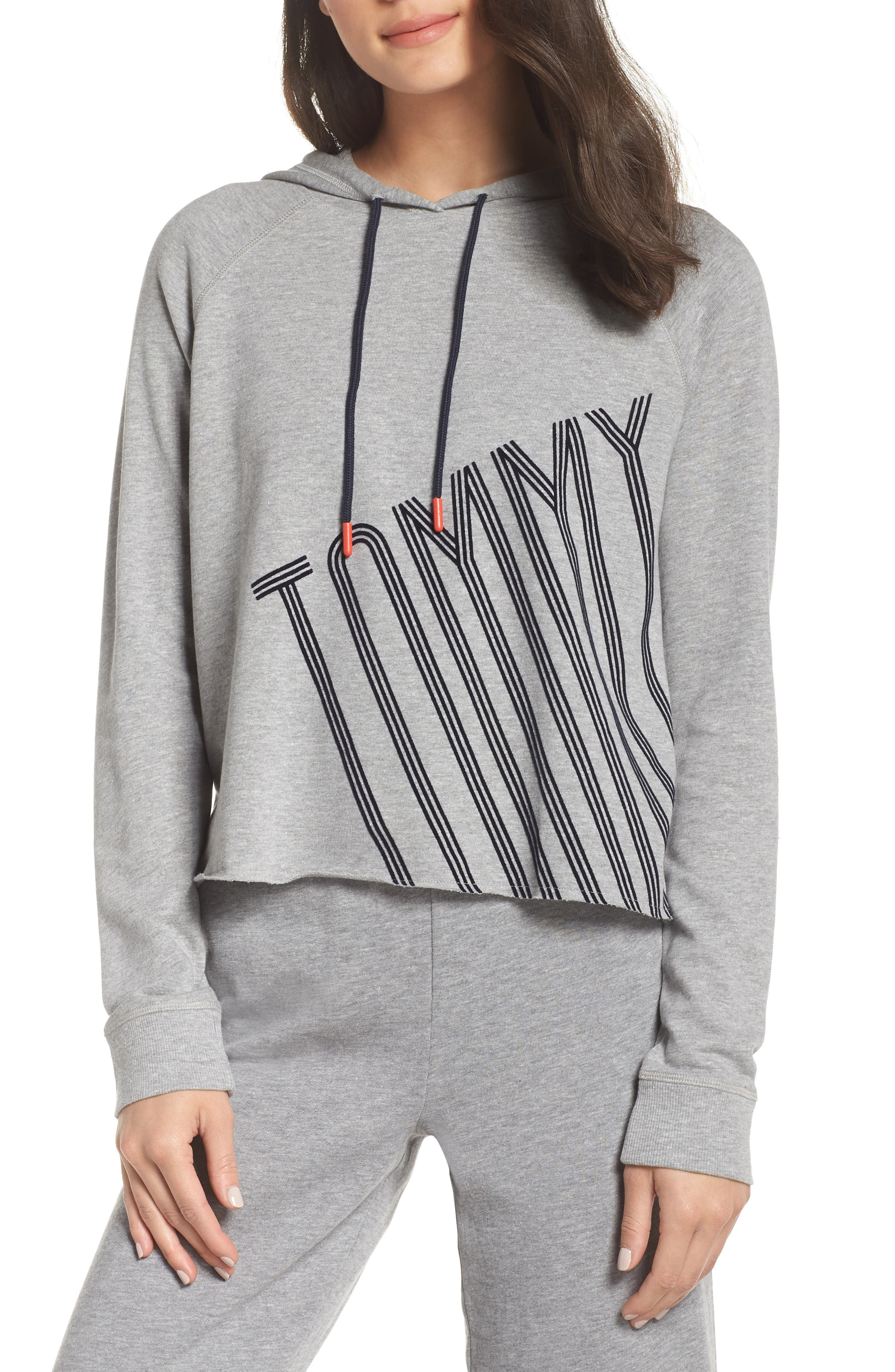 Cropped Lounge Hoodie,                         Main,                         color, HEATHER GREY