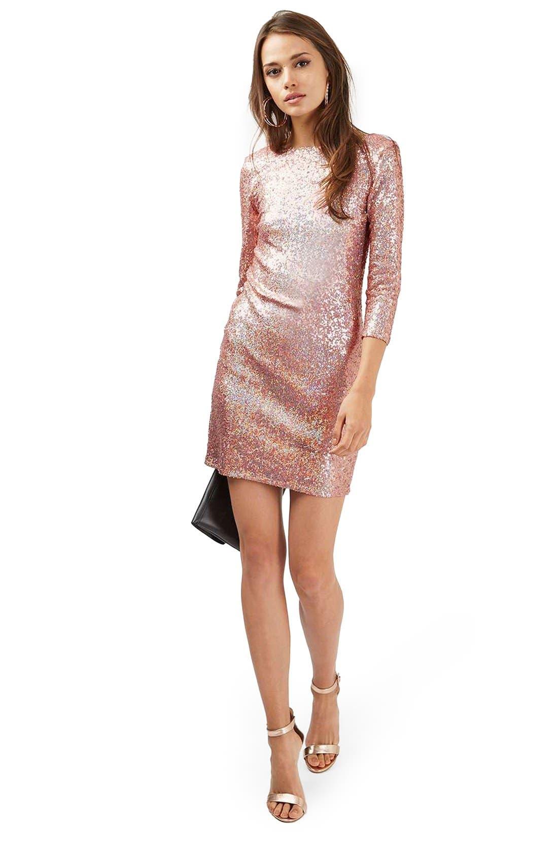 Sequin Body-Con Minidress,                             Alternate thumbnail 2, color,
