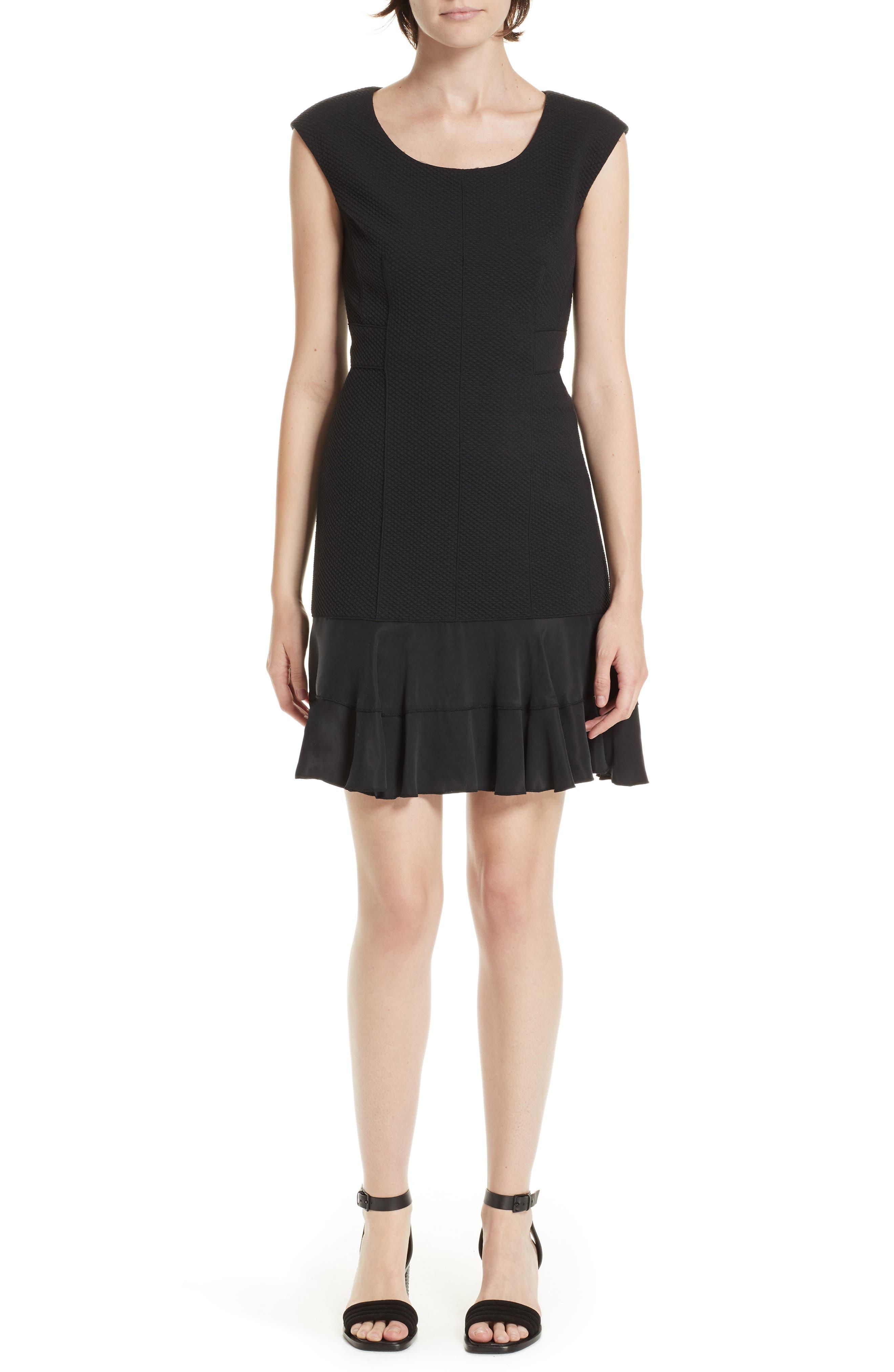 Honeycomb Fit & Flare Dress,                         Main,                         color, BLACK