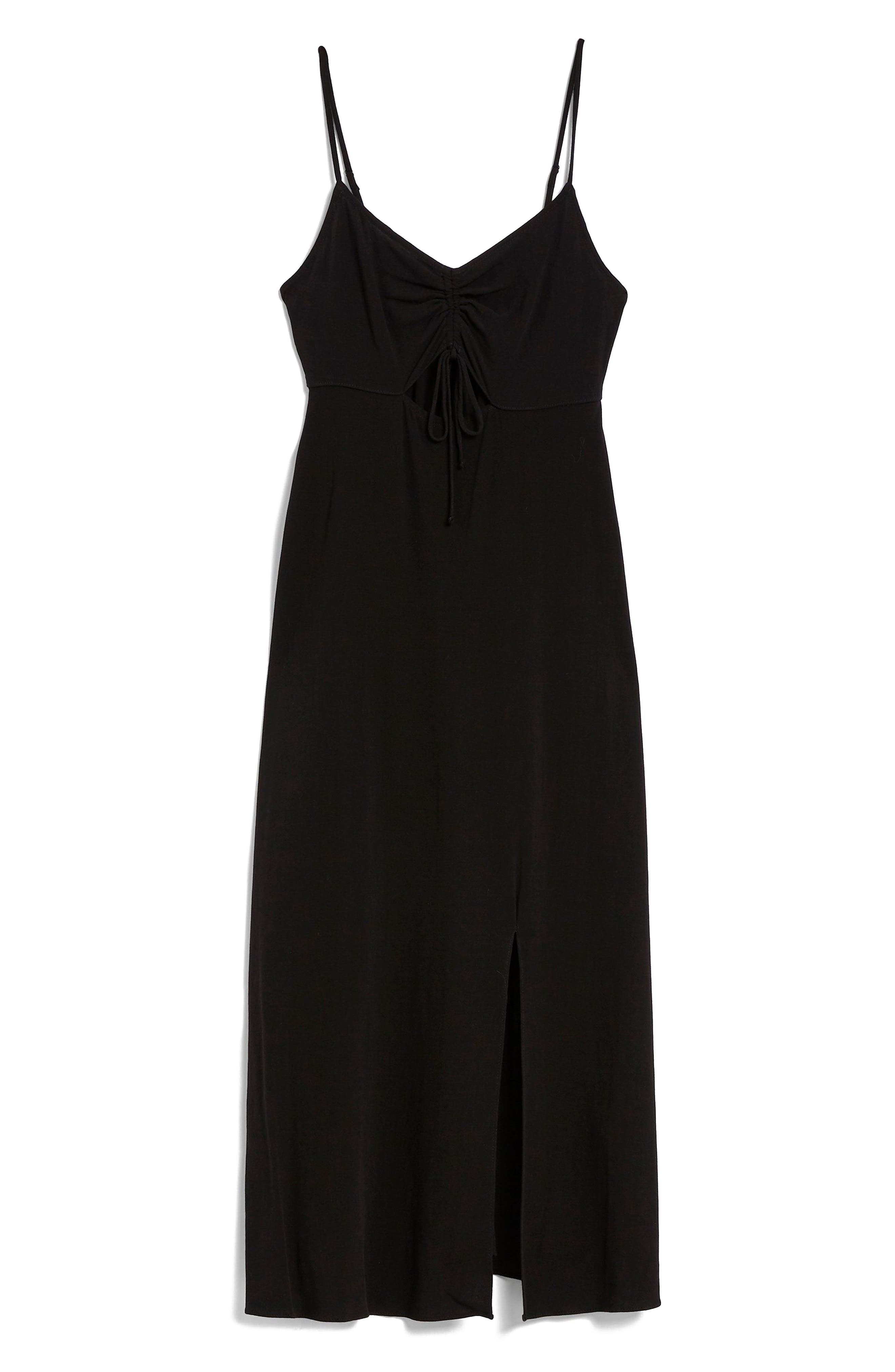 Ruched Front Midi Slipdress,                             Alternate thumbnail 4, color,