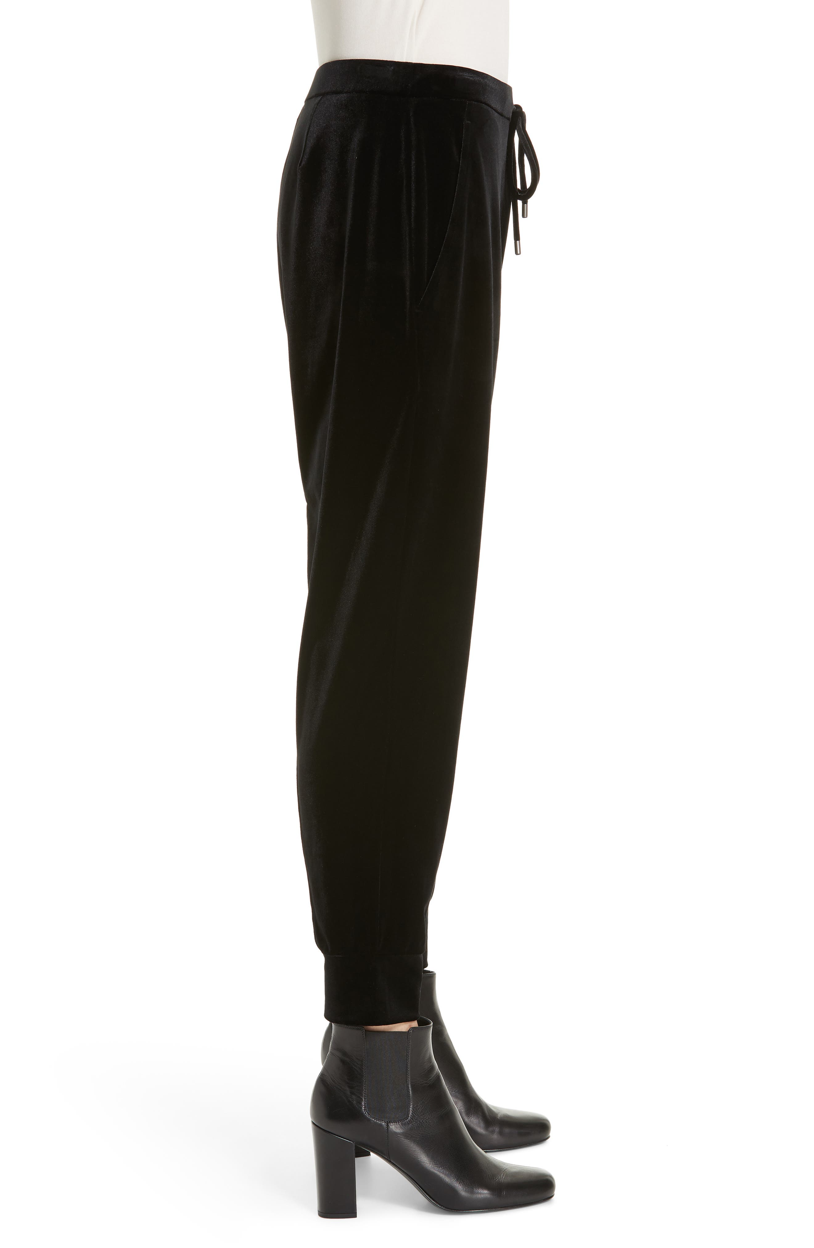 High Rise Crop Velvet Jogger Pants,                             Alternate thumbnail 4, color,                             BLACK
