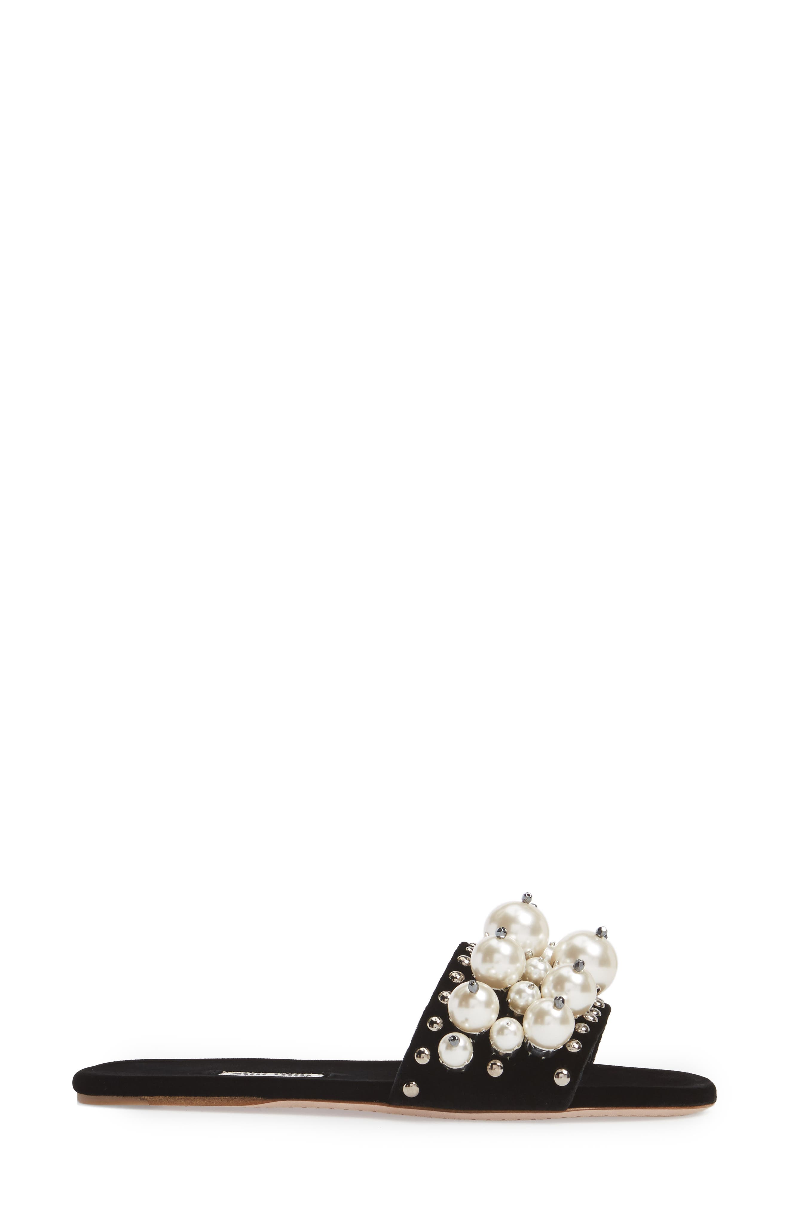 Imitation Pearl Embellished Slide Sandal,                             Alternate thumbnail 3, color,                             001