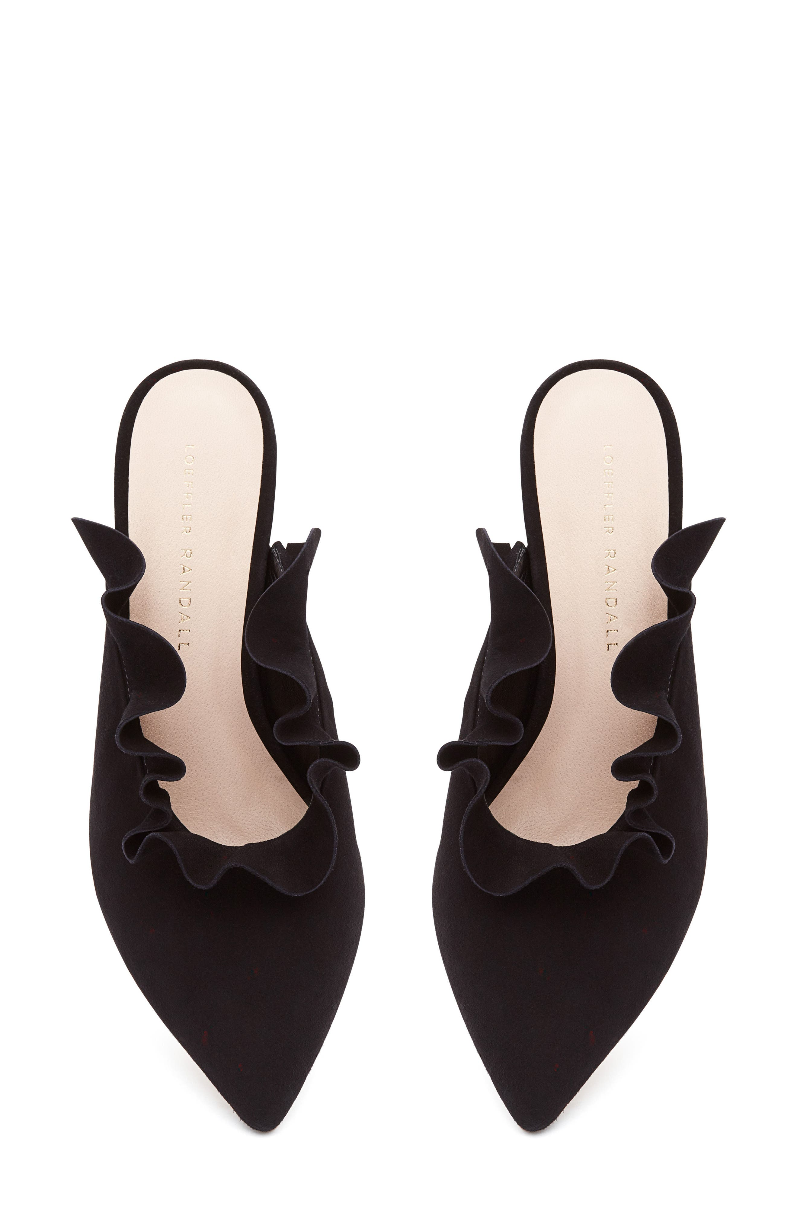 Langley Ruffle Pointy Toe Mule,                             Alternate thumbnail 3, color,                             001
