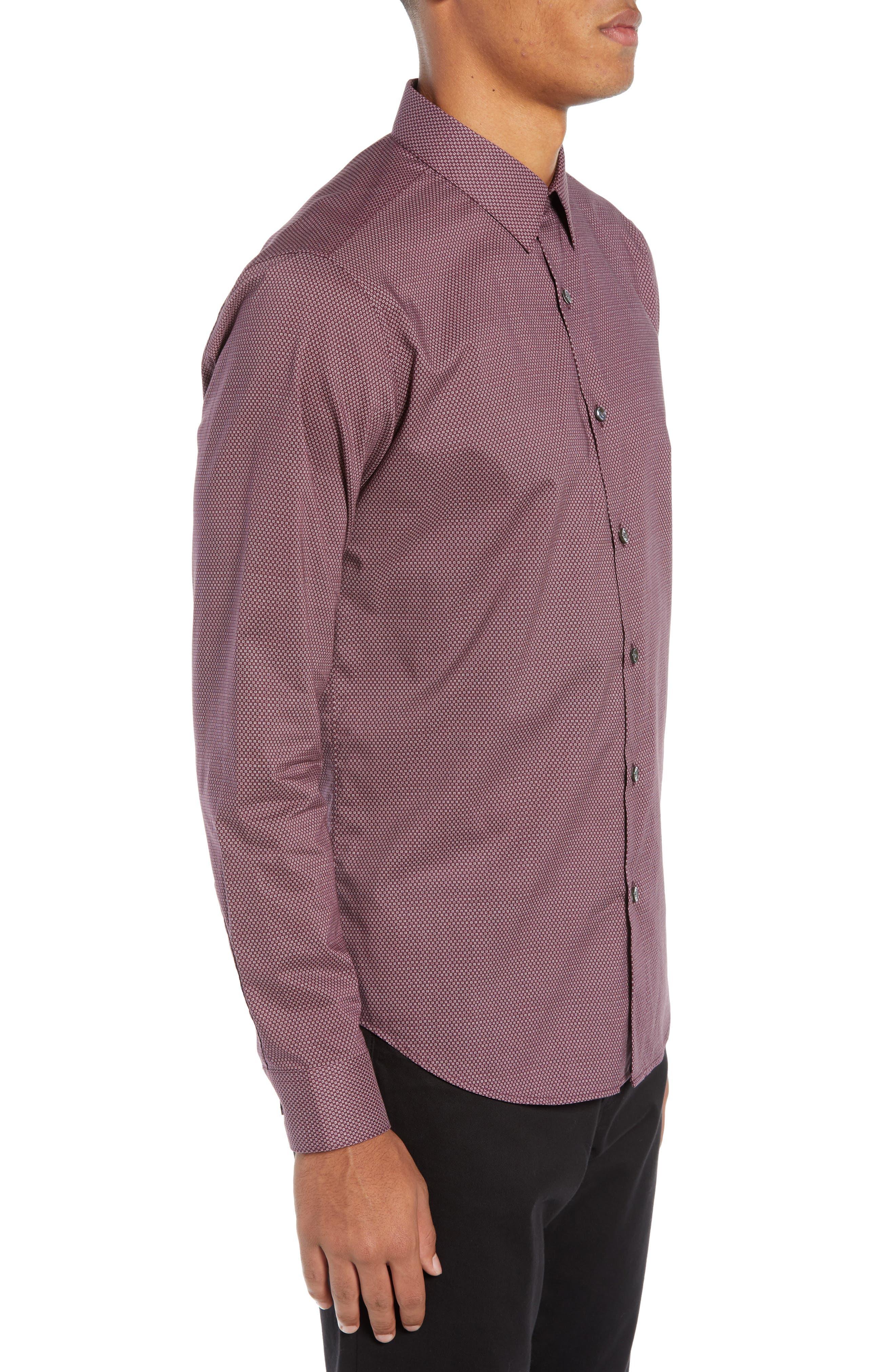 Sylvain Regular Fit Cinder Print Sport Shirt,                             Alternate thumbnail 4, color,                             MALBEC MULTI