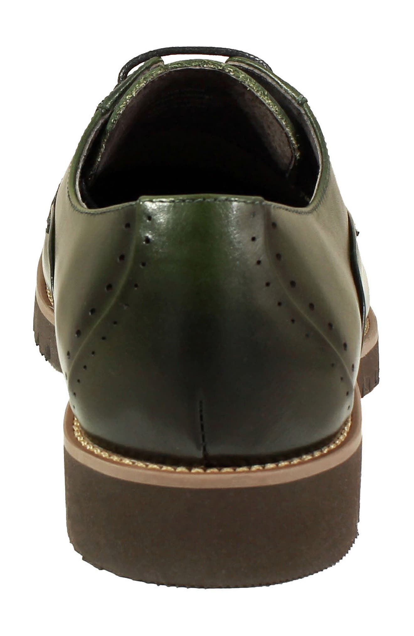 Barcliff Cap Toe Derby,                             Alternate thumbnail 8, color,                             CARGO GREEN LEATHER