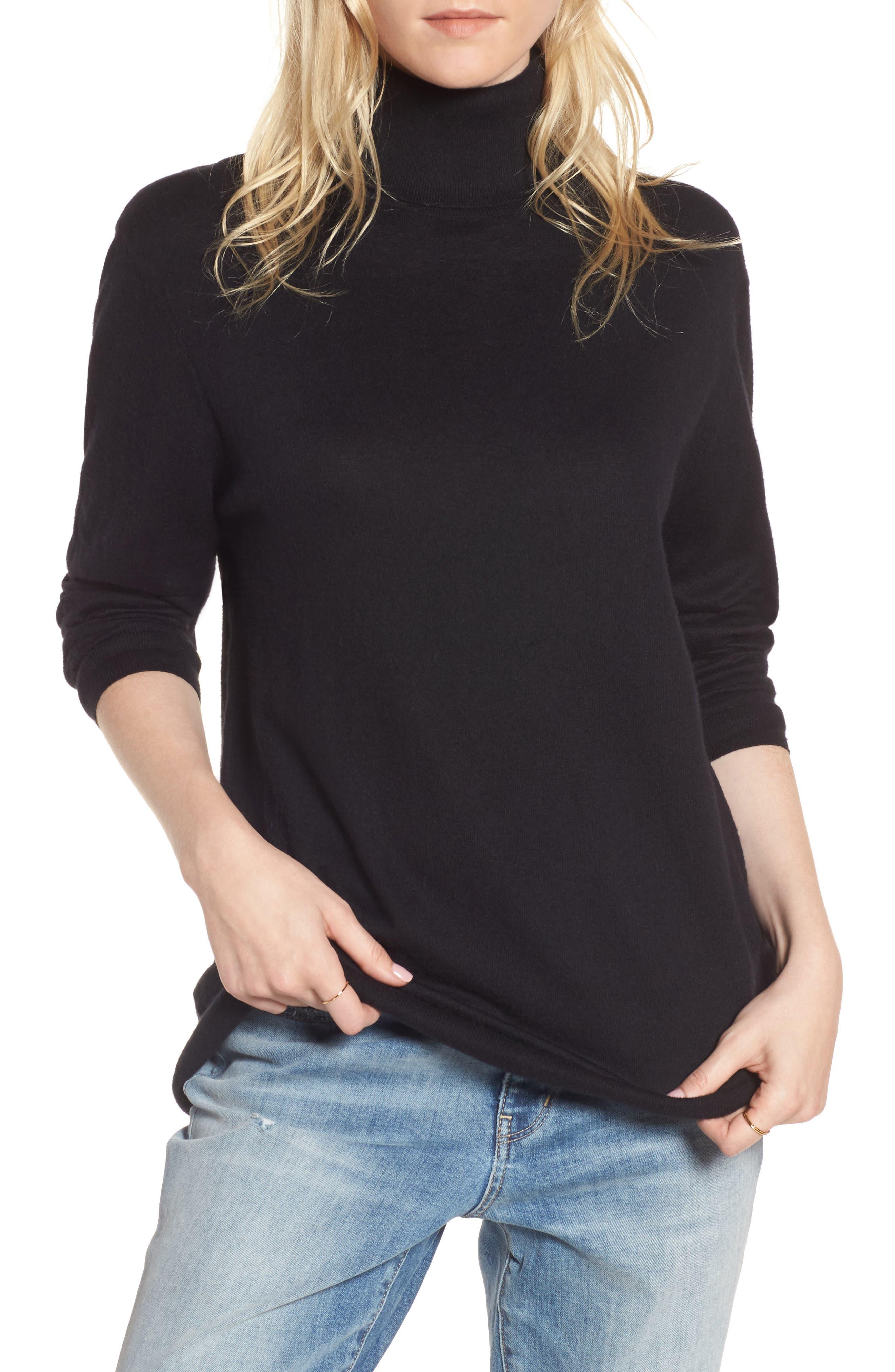 Boyfriend Turtleneck Sweater,                             Main thumbnail 1, color,                             001