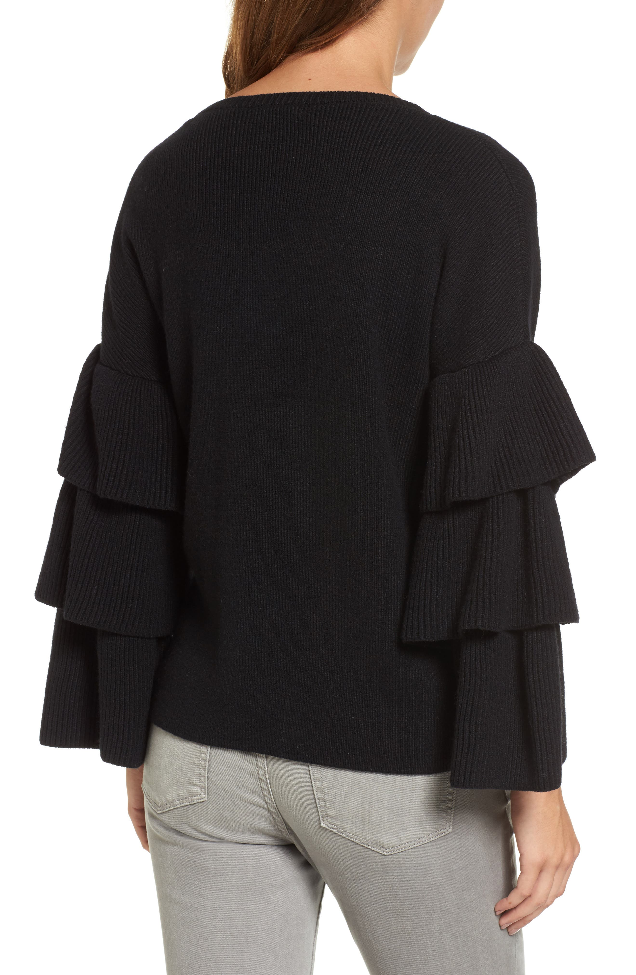 Ruffle Sleeve Sweater,                             Alternate thumbnail 2, color,                             001