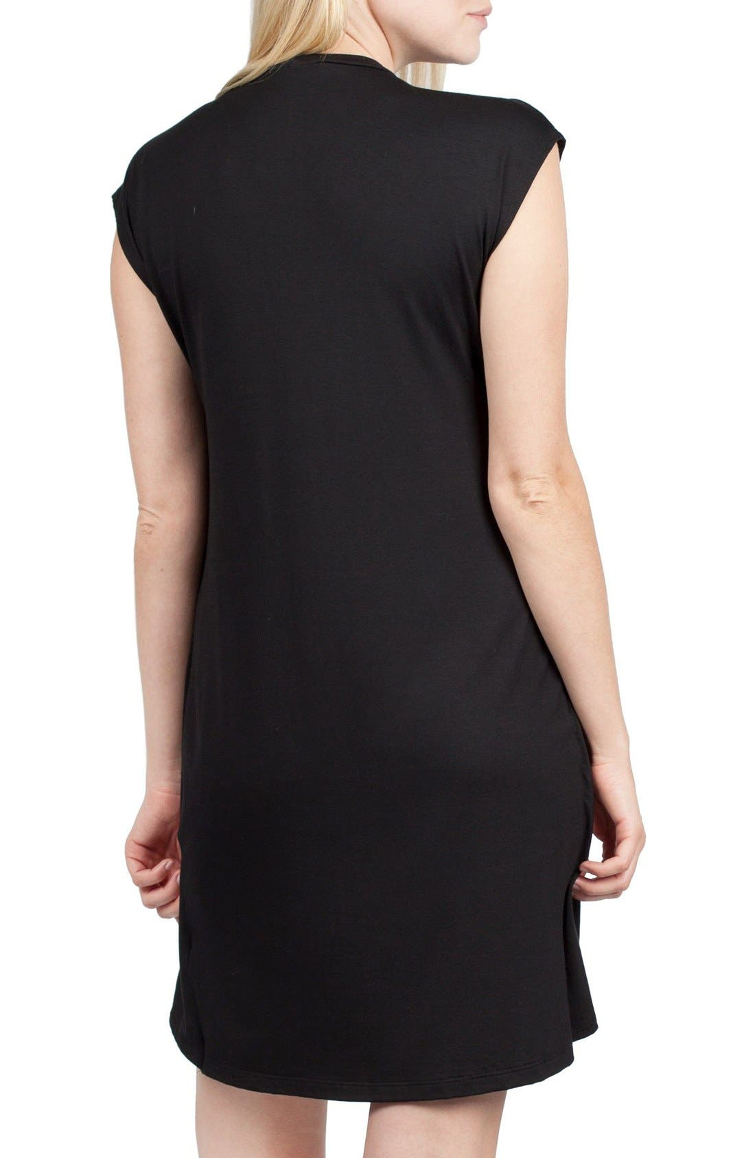 SAVI MOM,                             Lille Maternity/Nursing Tunic Dress,                             Alternate thumbnail 3, color,                             BLACK/ DUSTY PINK CONTRAST