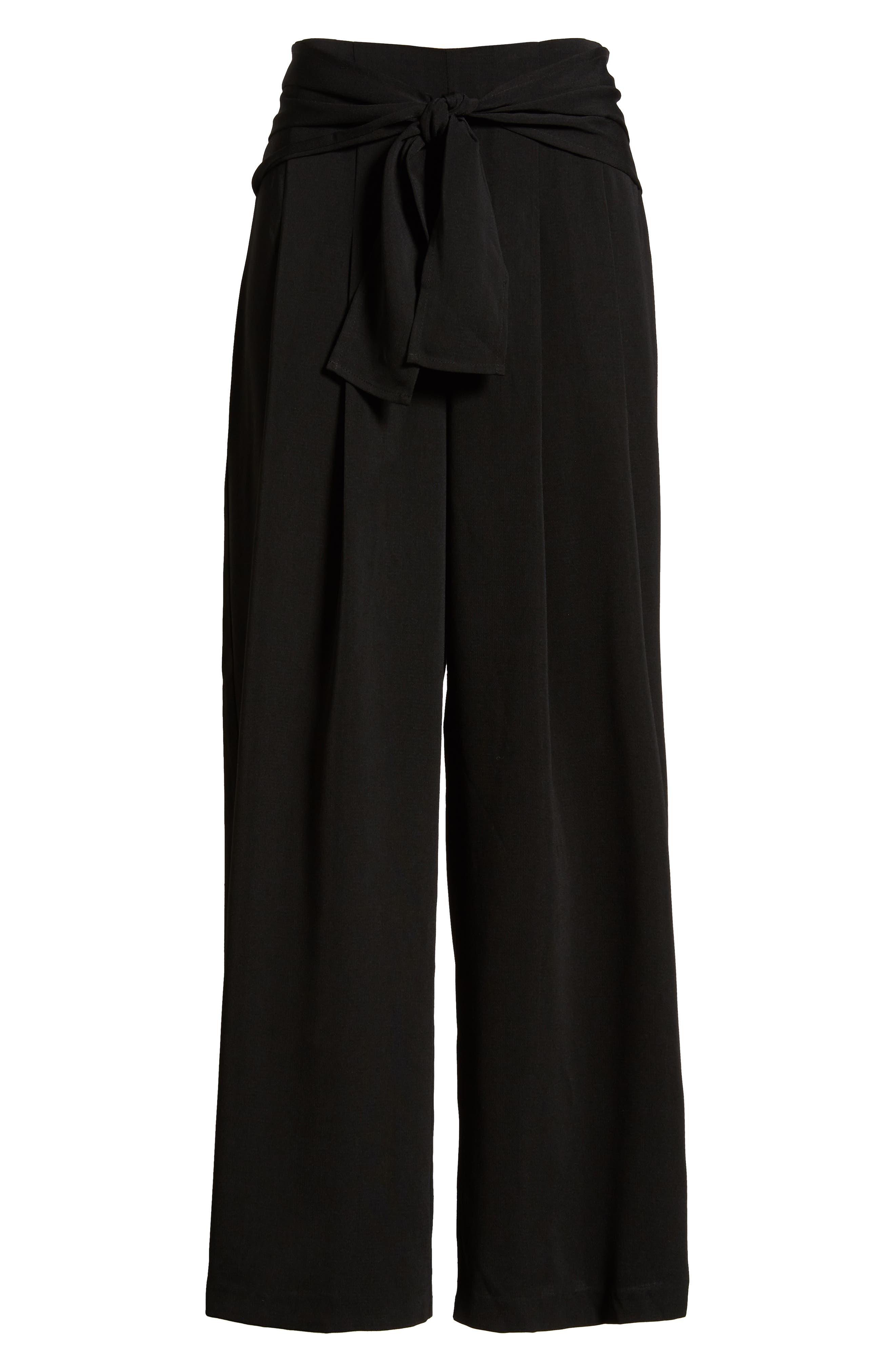 Tie Waist Wide Leg Pants,                             Alternate thumbnail 6, color,                             BLACK