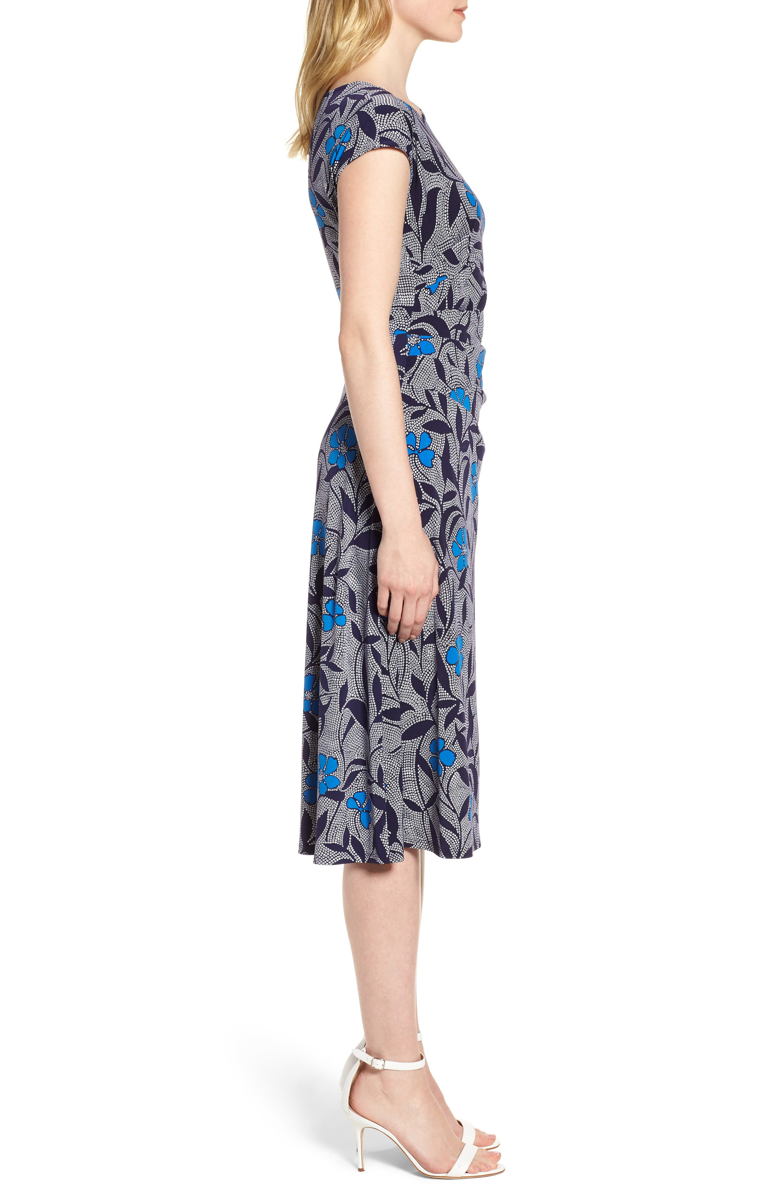 Pacific Blooms Stretch Jersey Ruched Dress,                             Alternate thumbnail 3, color,