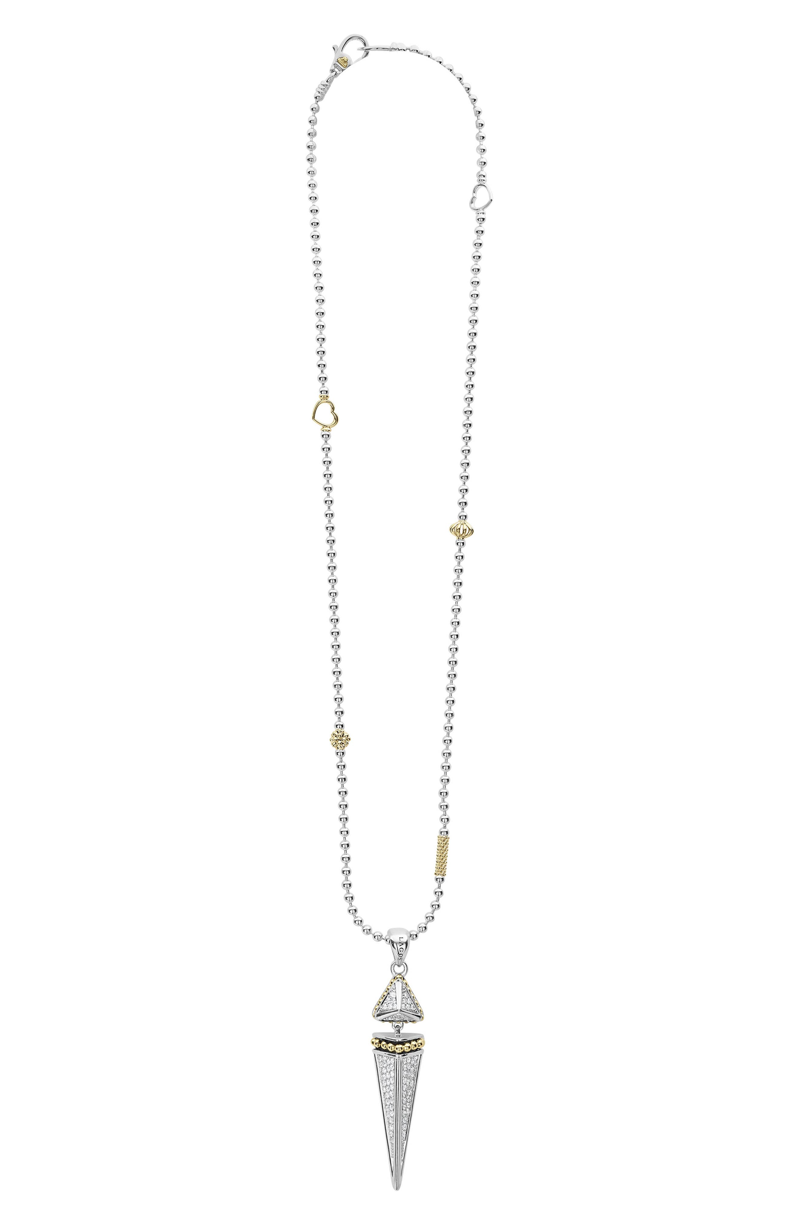 KSL Lux Diamond Pyramid Dangle Pendant Necklace,                         Main,                         color, SILVER/ DIAMOND