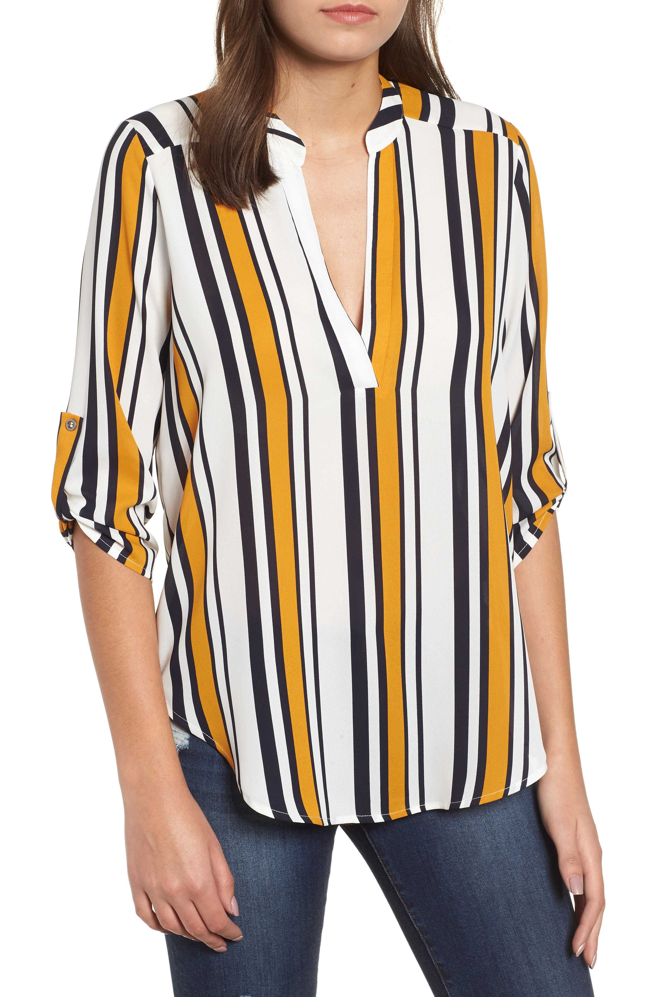 Roll Tab Sleeve Woven Shirt,                             Main thumbnail 1, color,                             MUSTARD-NAVY STRIPES