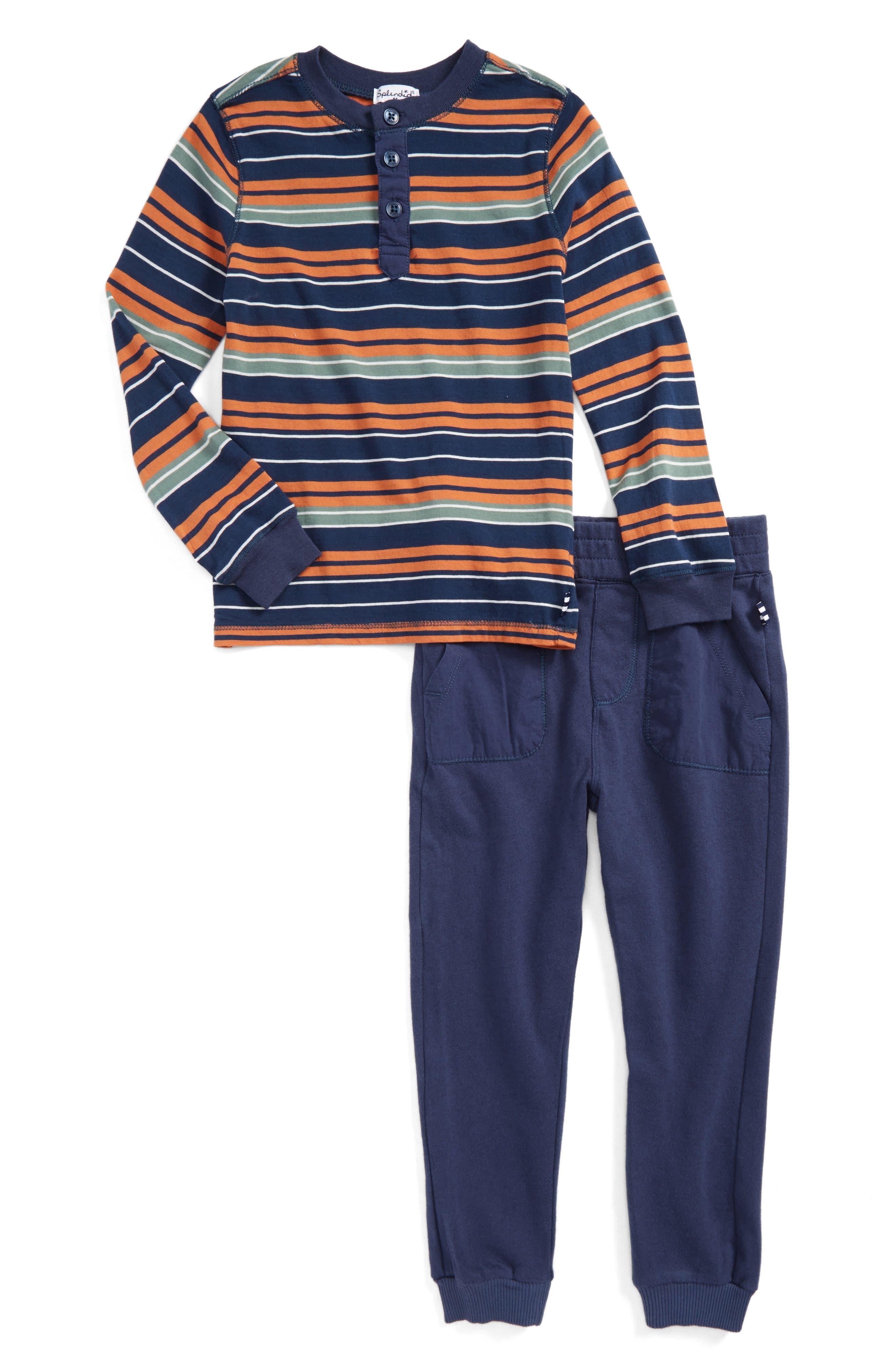 Stripe Henley Top & Sweatpants,                             Main thumbnail 1, color,