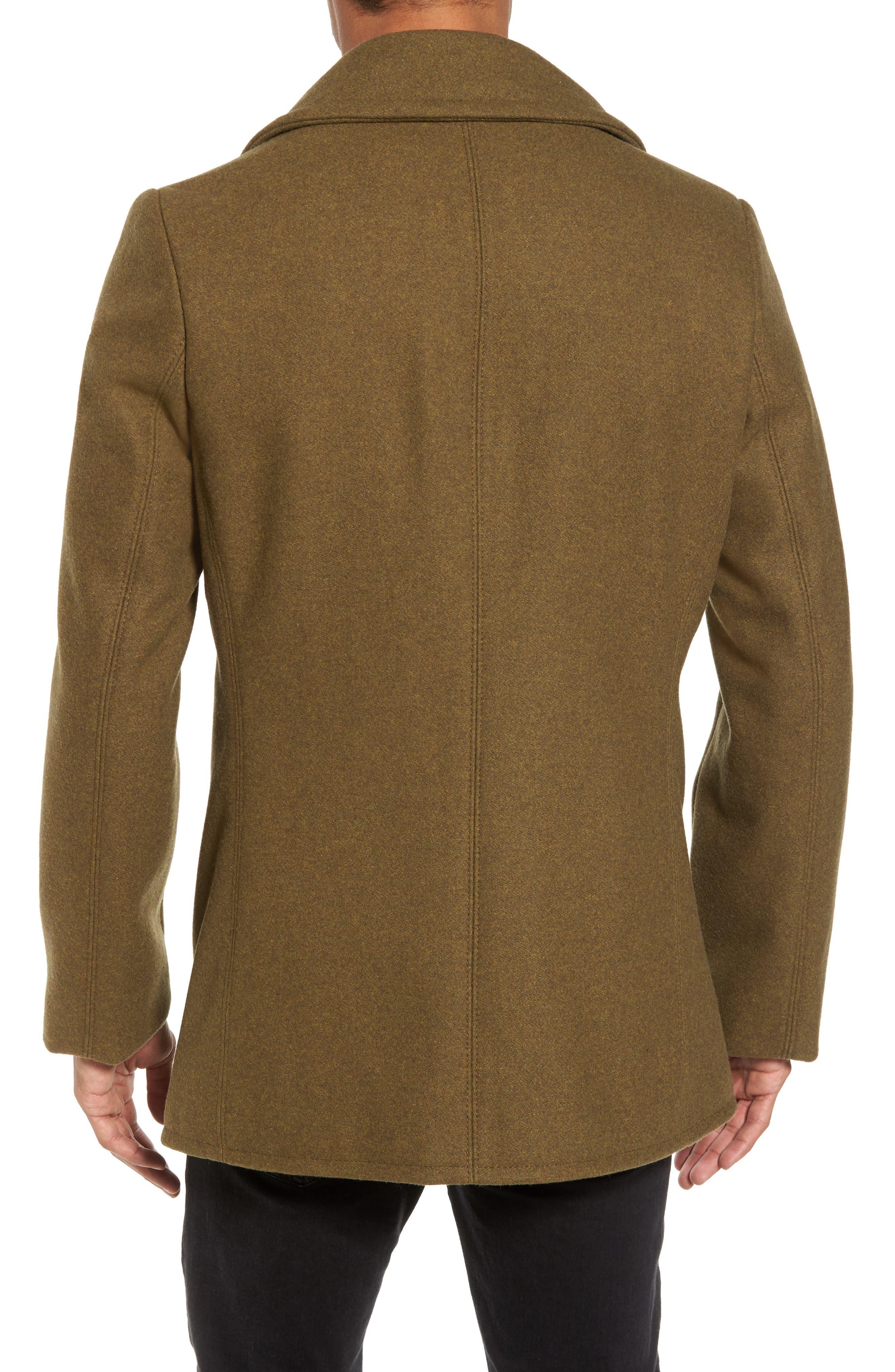 Embellished Slim Wool Blend Peacoat,                             Alternate thumbnail 5, color,