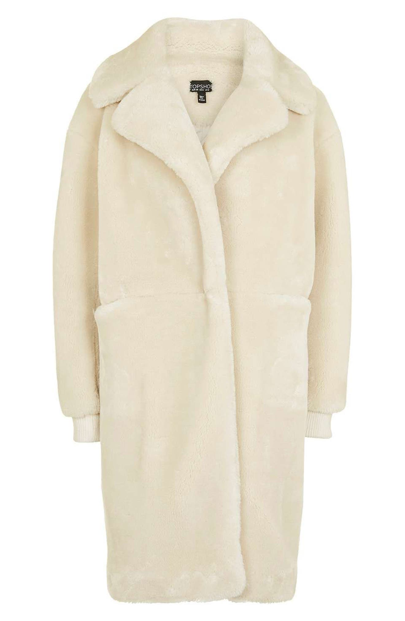 TOPSHOP,                             Polar Bear Faux Fur Coat,                             Alternate thumbnail 6, color,                             900