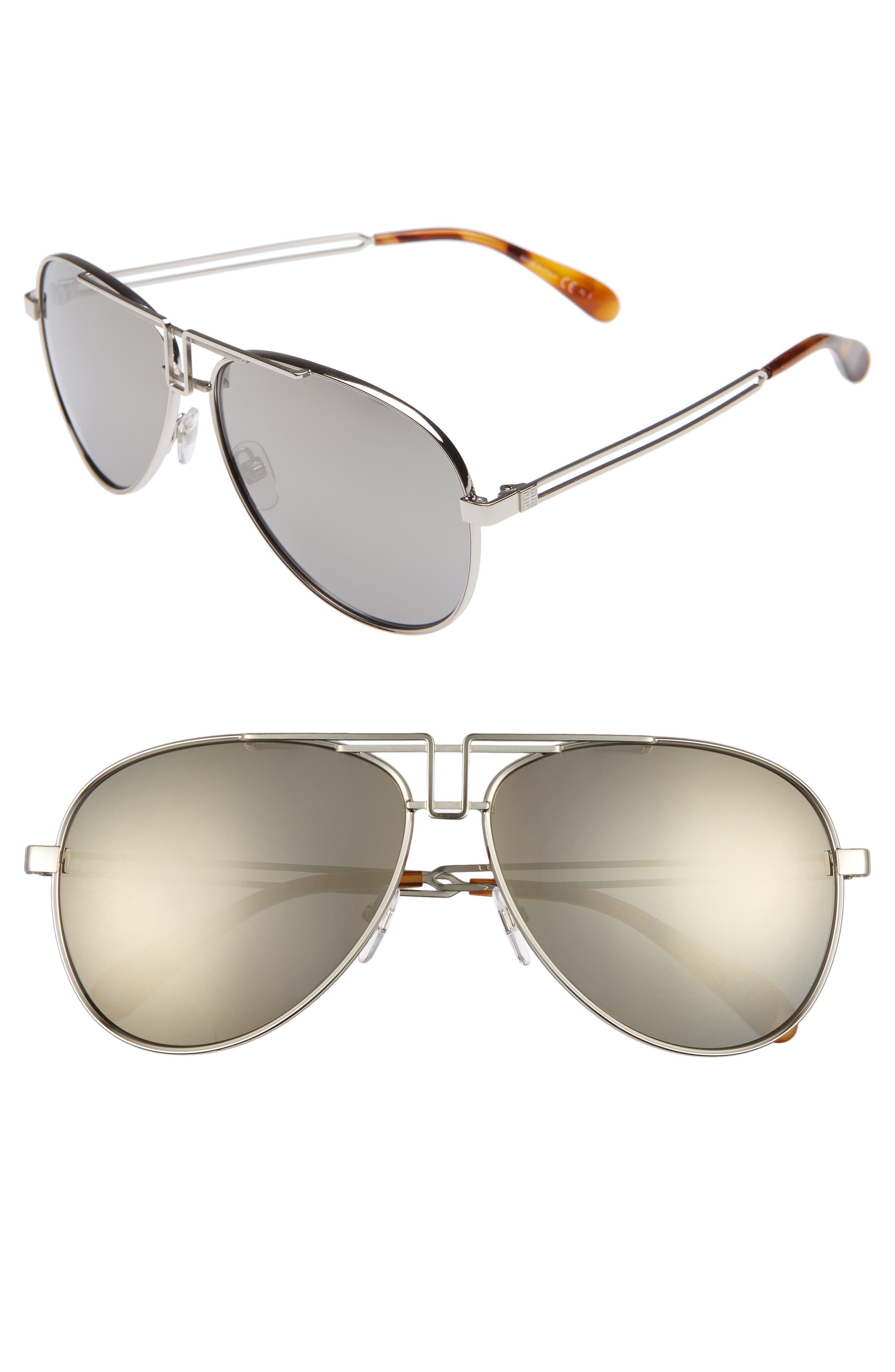 Givenchy 61Mm Aviator Sunglasses - Palladium