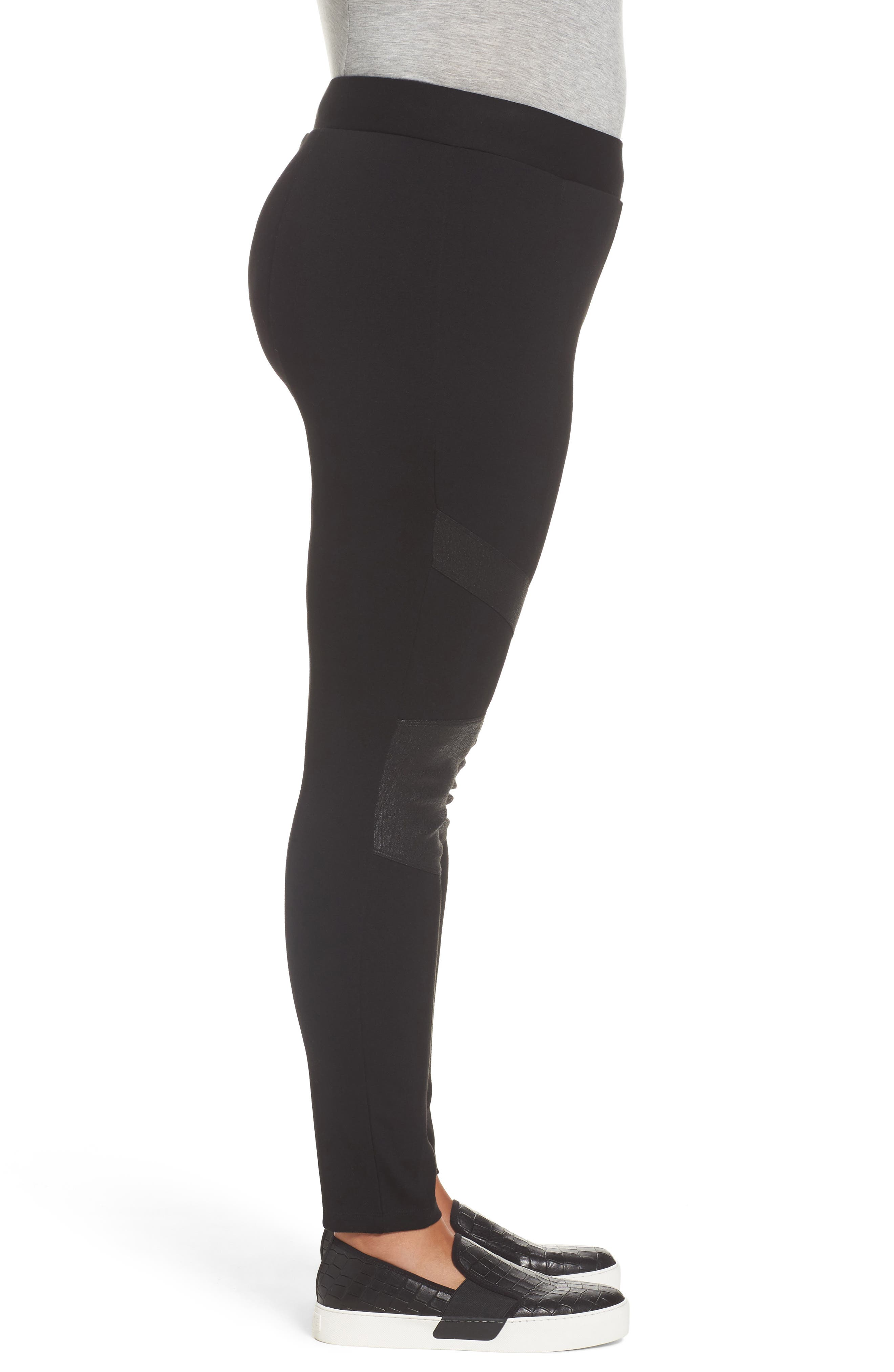 TWO BY VINCE CAMUTO,                             High Rise Lacquer Inset Moto Leggings,                             Alternate thumbnail 3, color,                             RICH BLACK