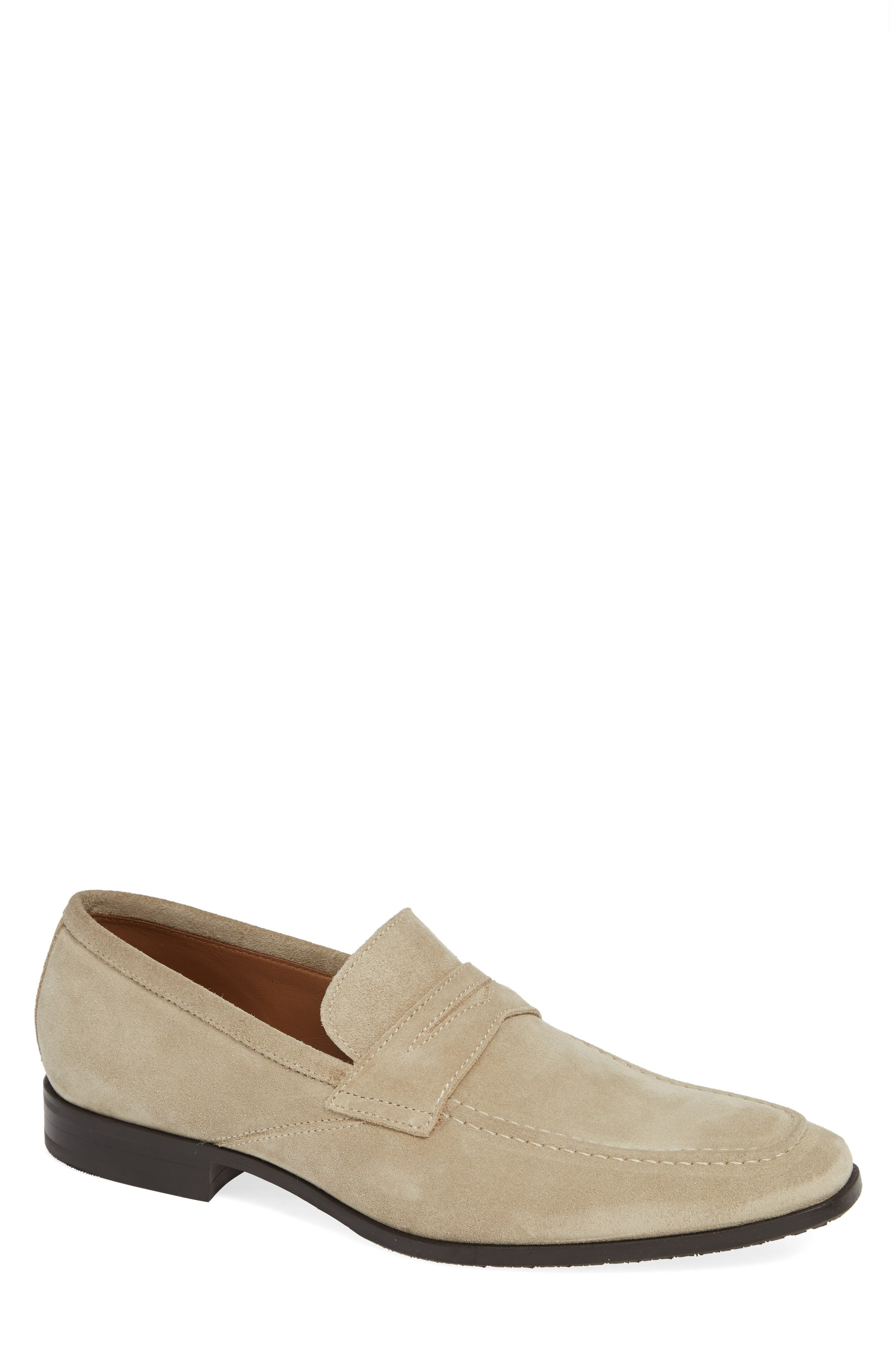 Nicasio Apron Toe Penny Loafer,                             Main thumbnail 1, color,                             SAND SUEDE