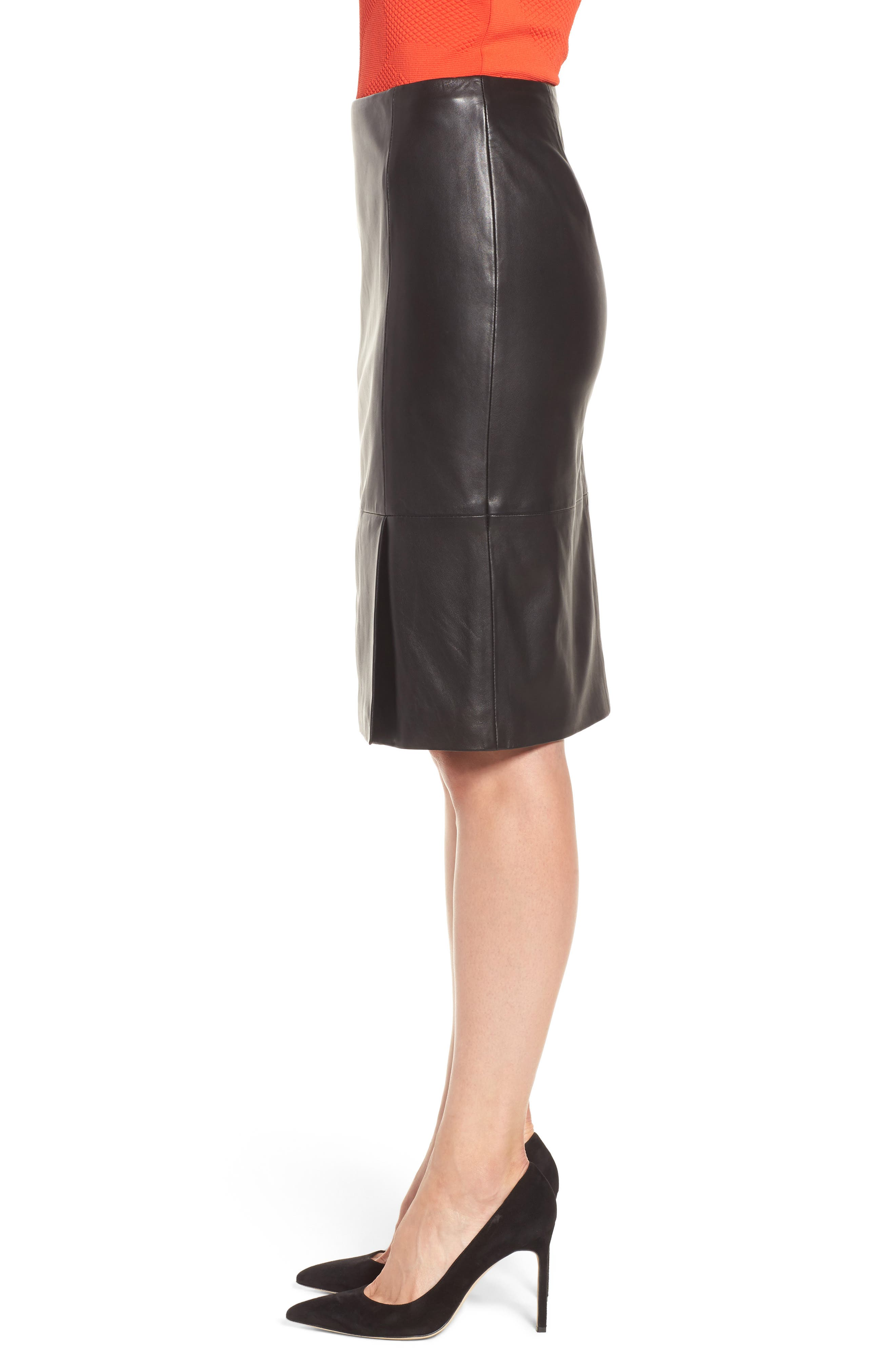 Sepama Leather Pencil Skirt,                             Alternate thumbnail 3, color,                             001