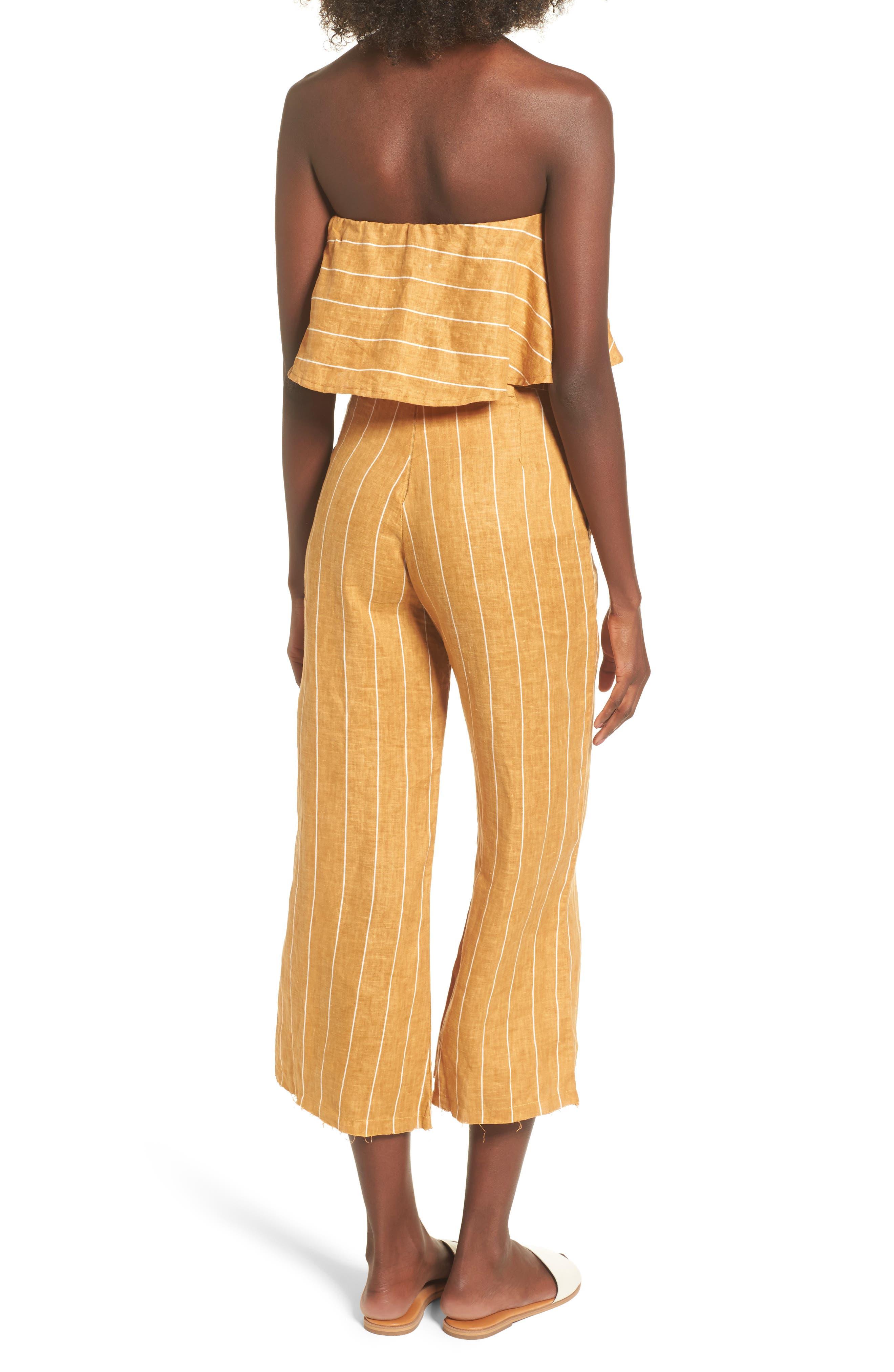 Solana Stripe Strapless Linen Crop Top,                             Alternate thumbnail 8, color,                             700