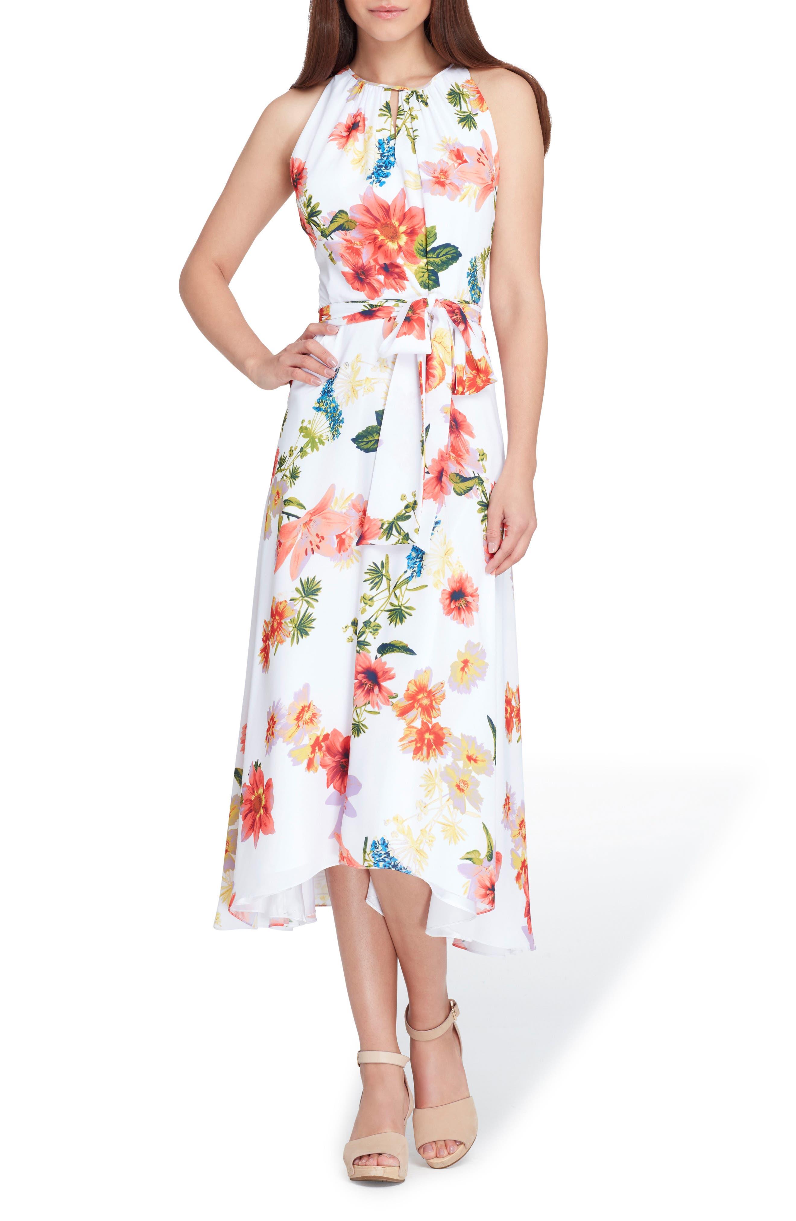 Sleeveless Floral Chiffon Midi Dress,                         Main,                         color, WHITE/ CORAL/ ROYAL