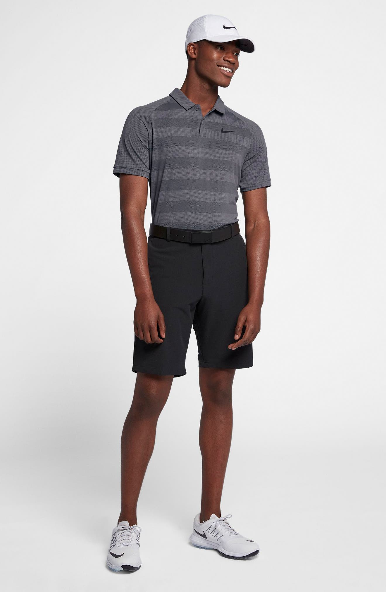 NIKE,                             Stripe Polo Shirt,                             Alternate thumbnail 9, color,                             021