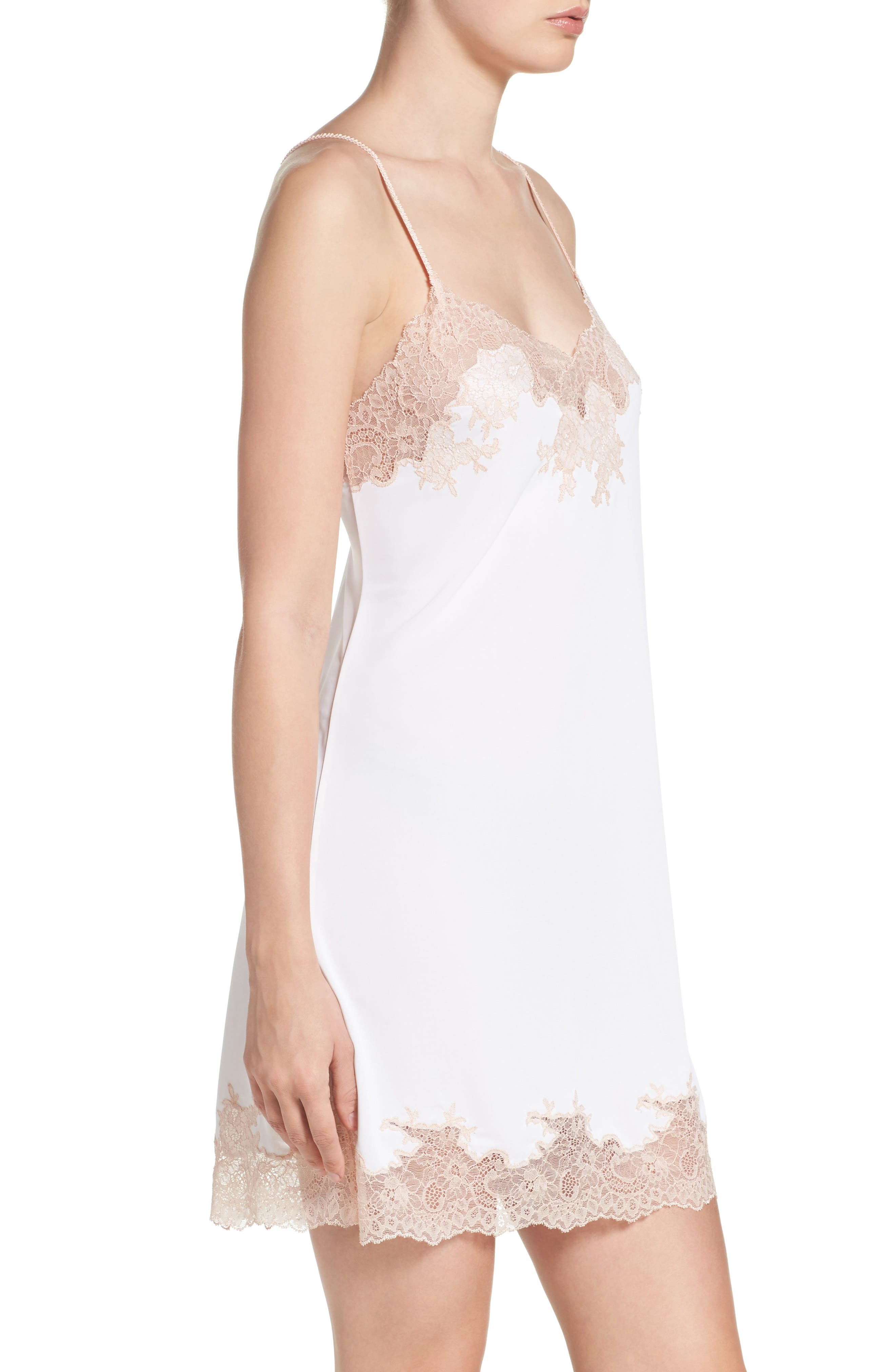 Enchant Chemise,                             Alternate thumbnail 3, color,                             IVORY/ CAMEO ROSE LACE