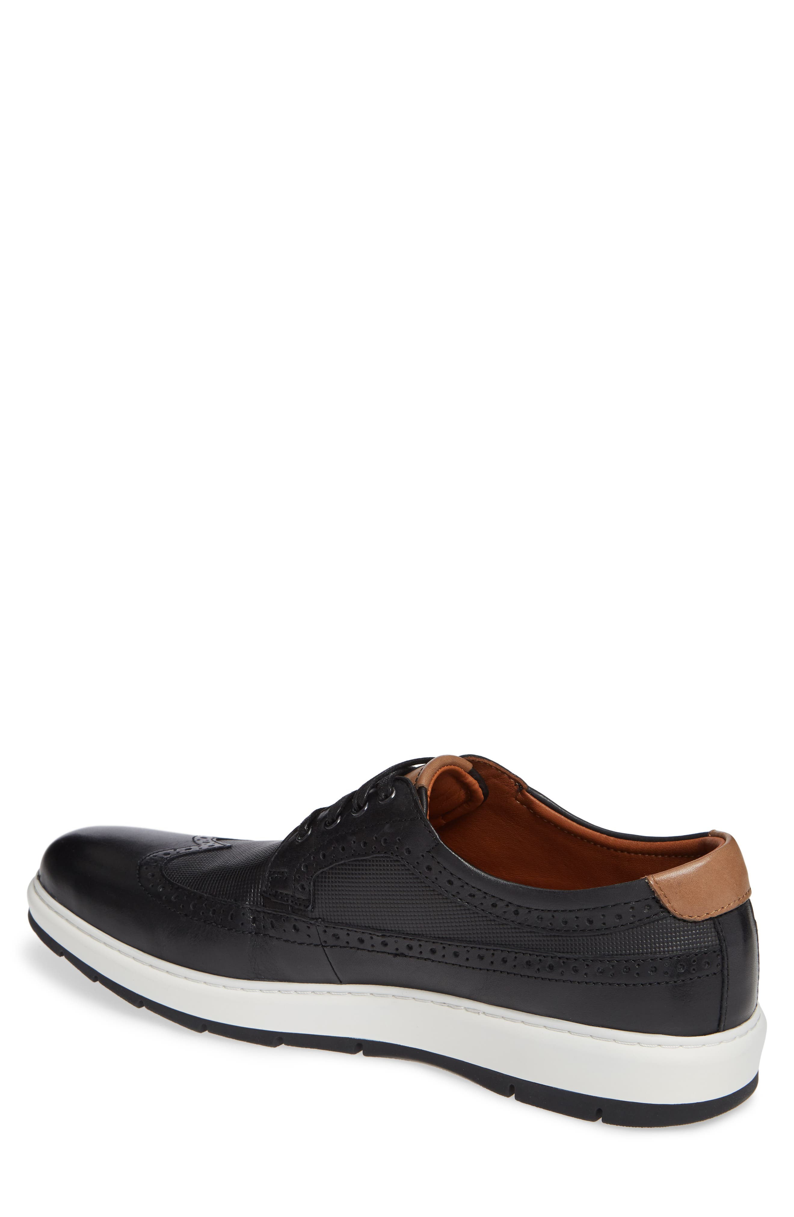 Elliston Wingtip Sneaker,                             Alternate thumbnail 2, color,                             BLACK LEATHER