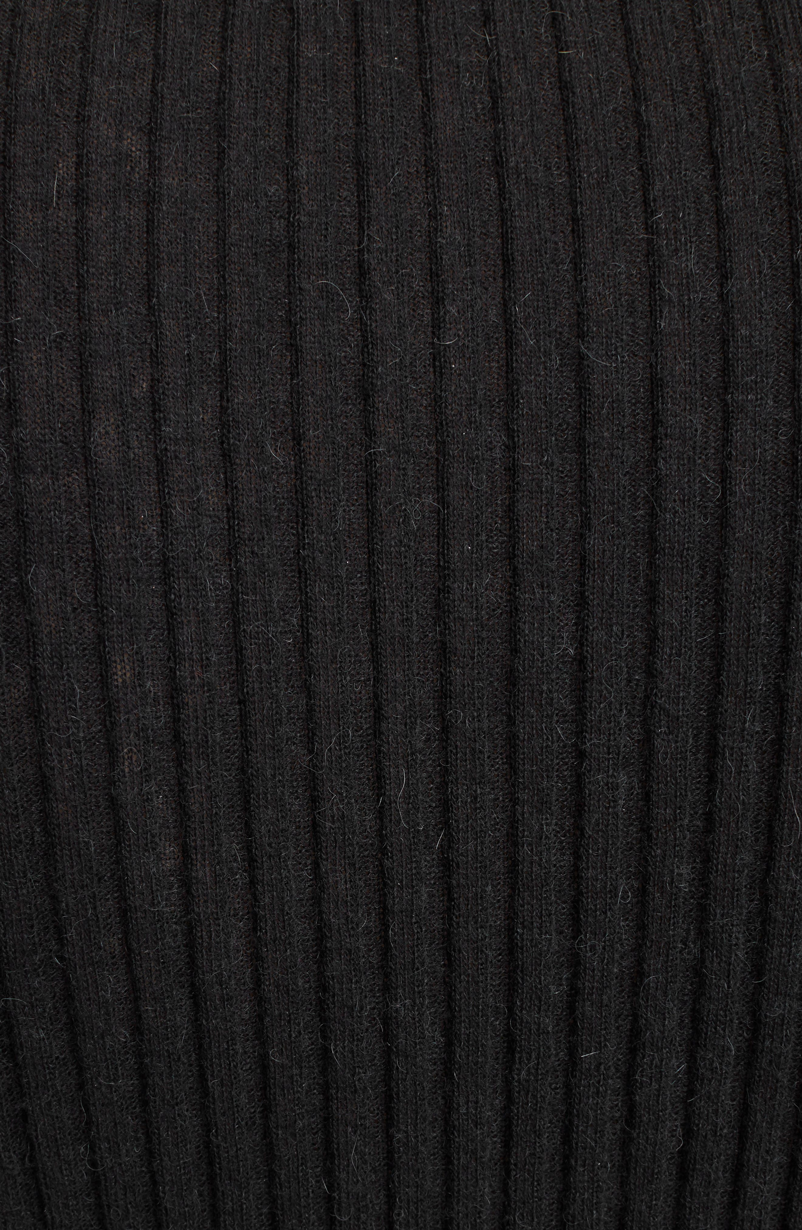 Button Detail Ribbed Sweater,                             Alternate thumbnail 5, color,                             BLACK