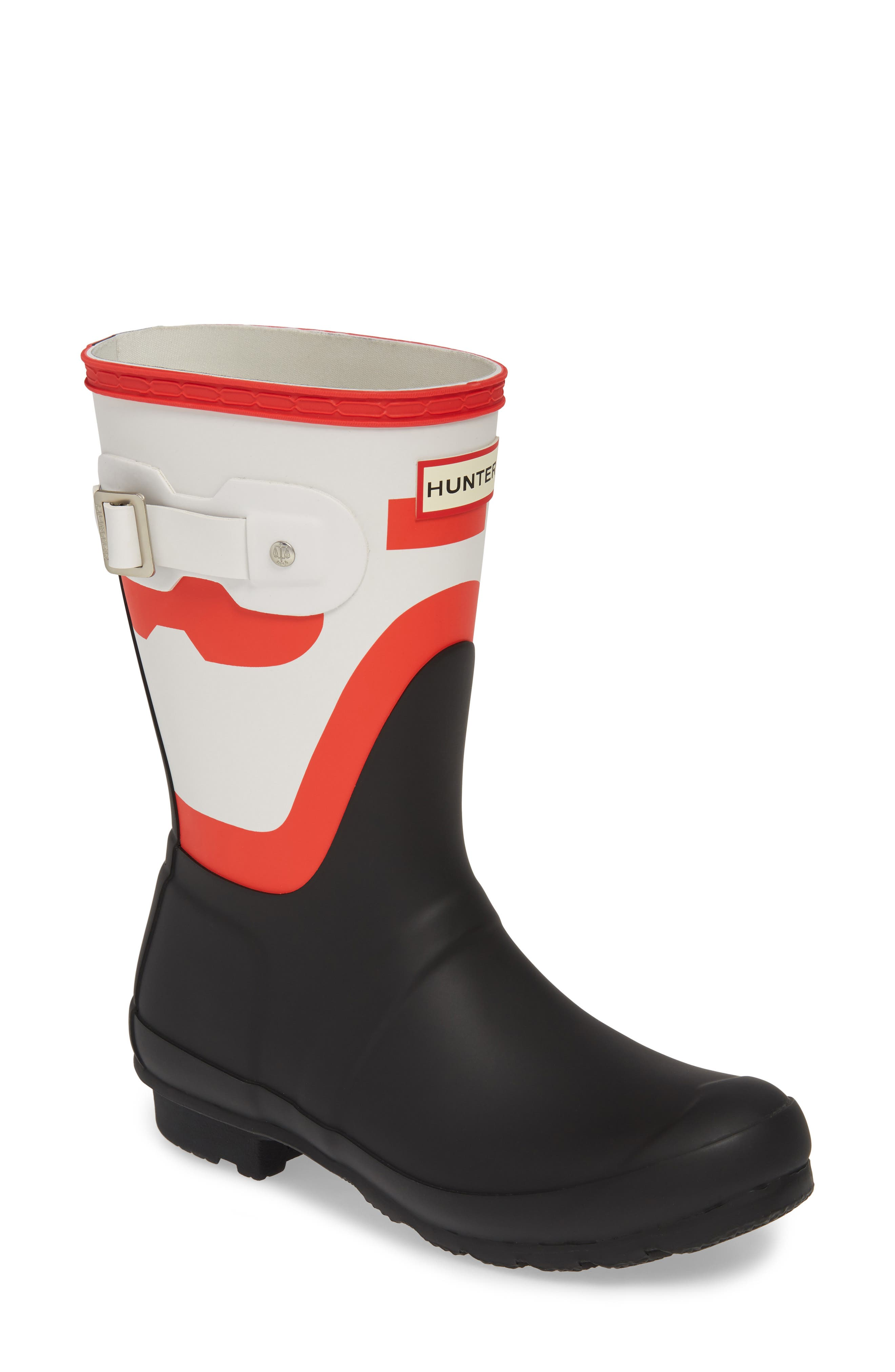 Hunter Original Shadow Print Short Waterproof Rain Boot, Black