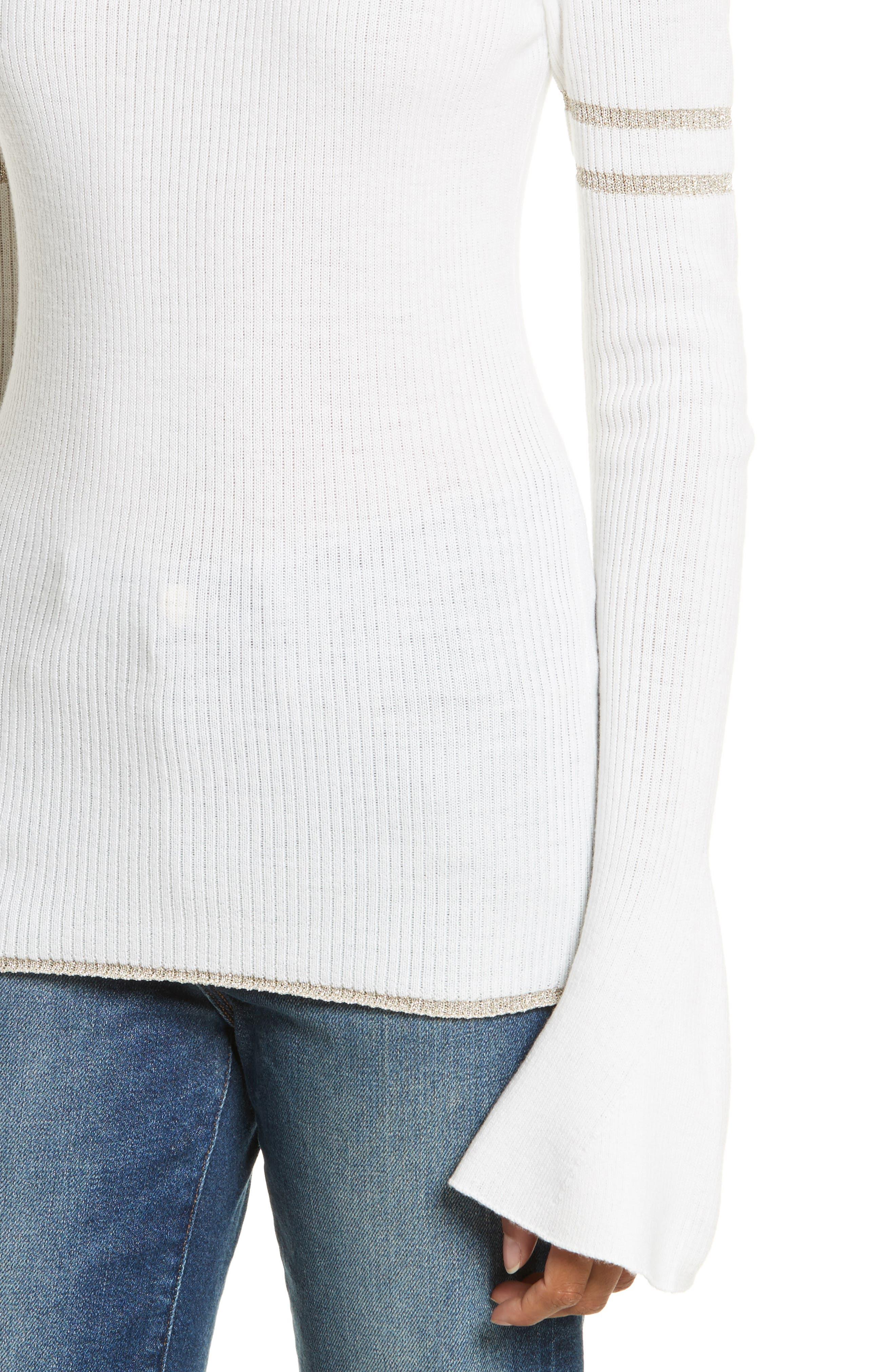 Metallic Knit Merino Wool Blend Sweater,                             Alternate thumbnail 4, color,                             199