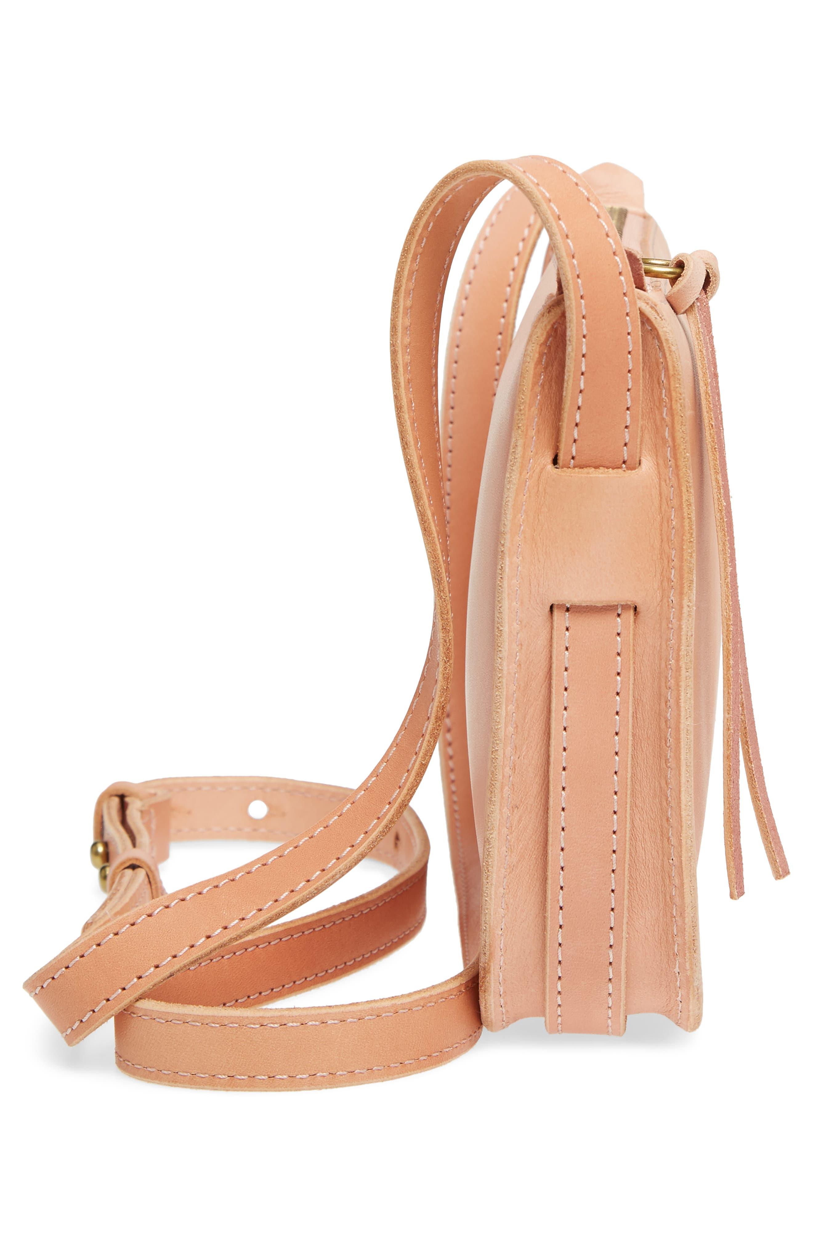 Simple Leather Crossbody Bag,                             Alternate thumbnail 5, color,                             PETAL PINK