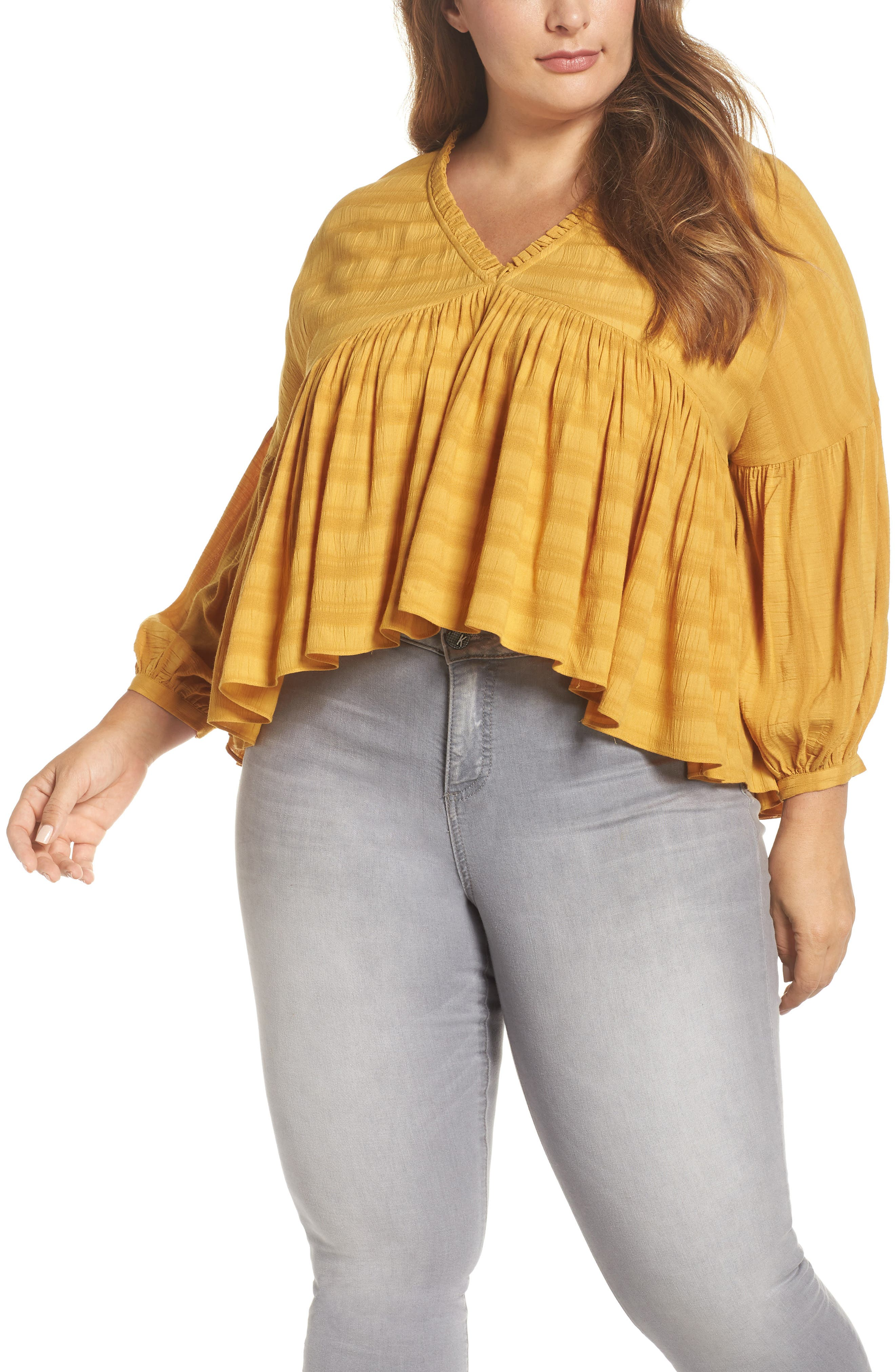 Ruffle Hem Top,                             Main thumbnail 1, color,                             GOLDEN SPICE