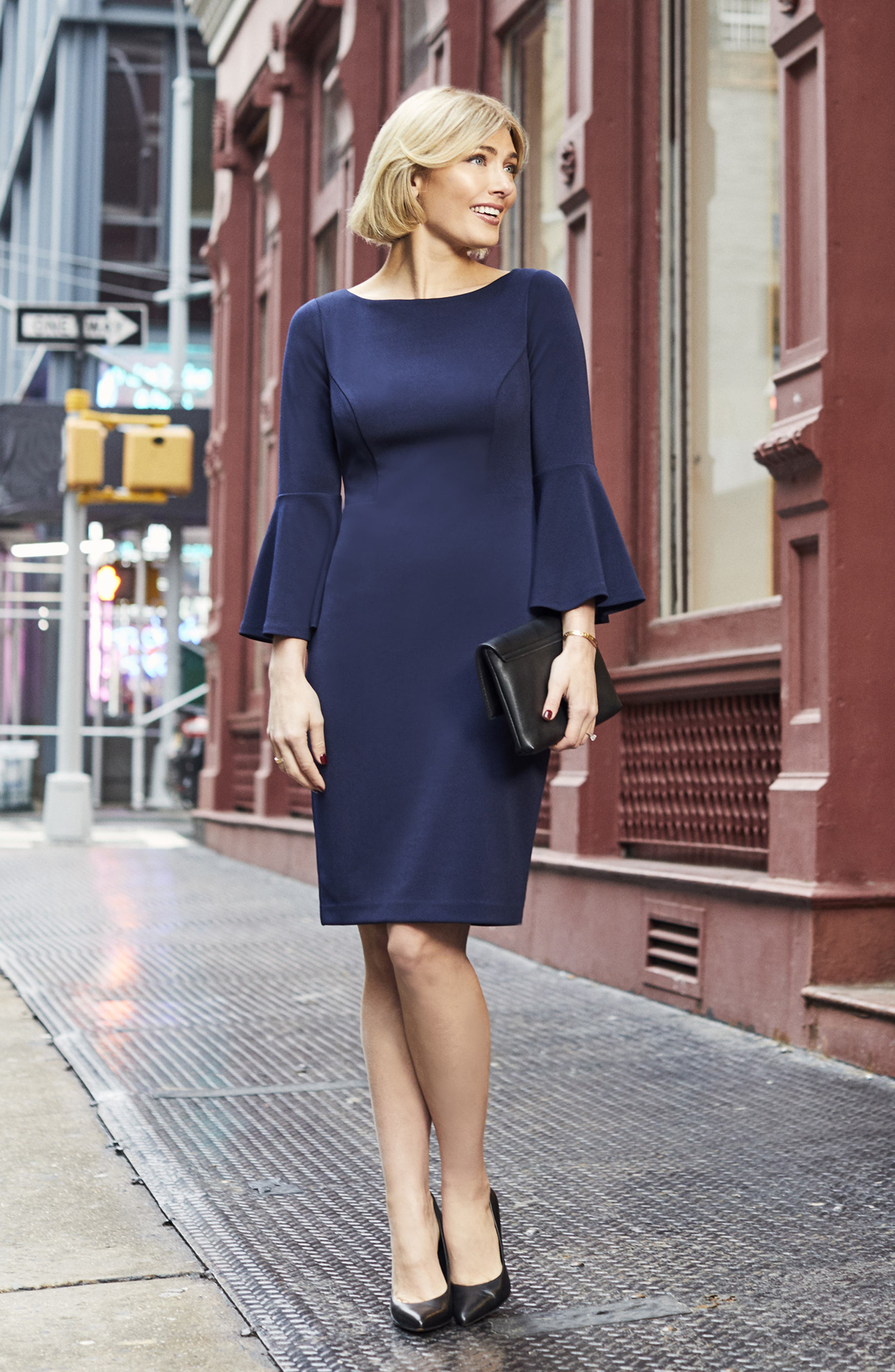 HARPER ROSE,                             Bell Sleeve Bateau Neck Sheath Dress,                             Alternate thumbnail 8, color,                             NAVY
