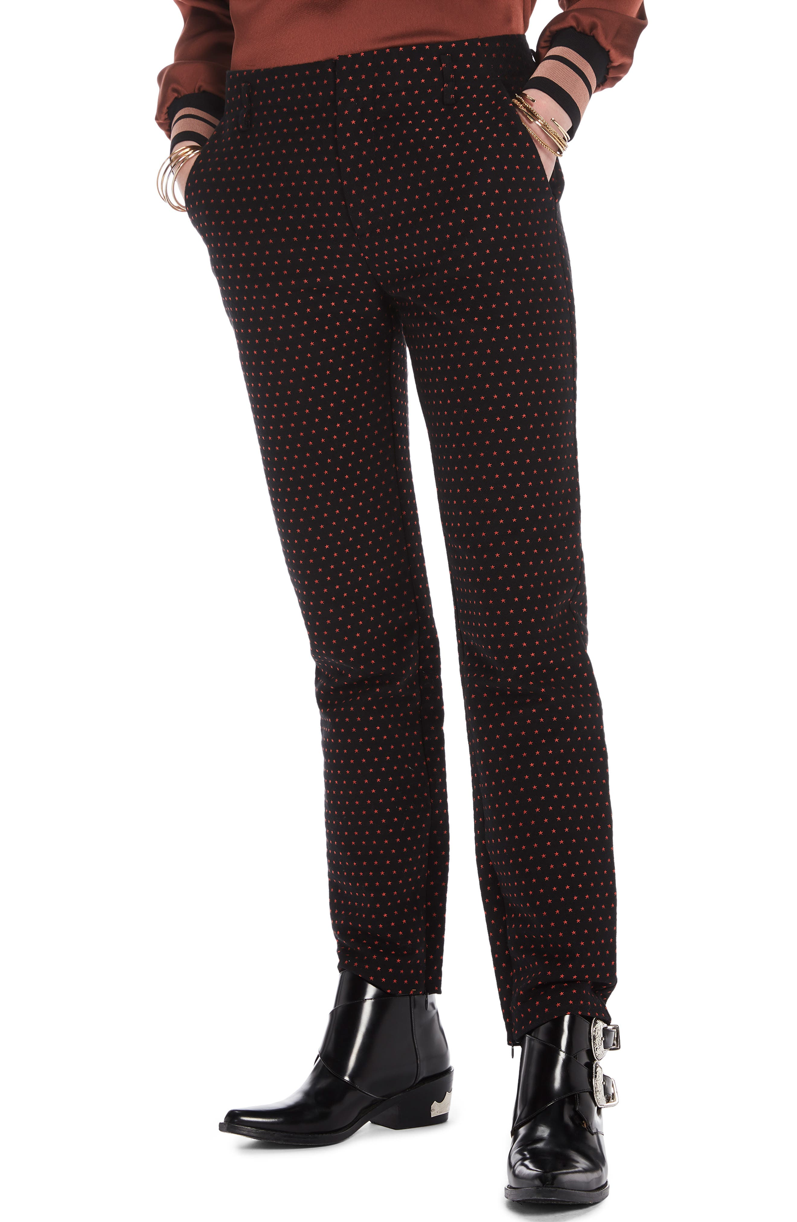 Starry Jacquard Tailored Stretch Pants,                         Main,                         color, BLACK W/ SMALL STAR PRINT