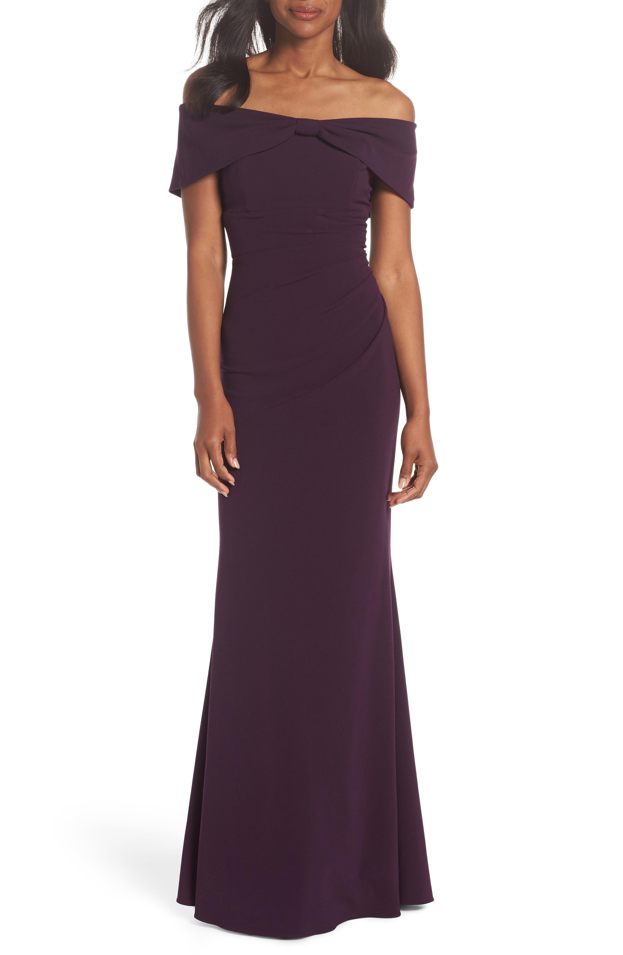 Knot Front Off the Shoulder Gown,                             Main thumbnail 1, color,                             PLUM