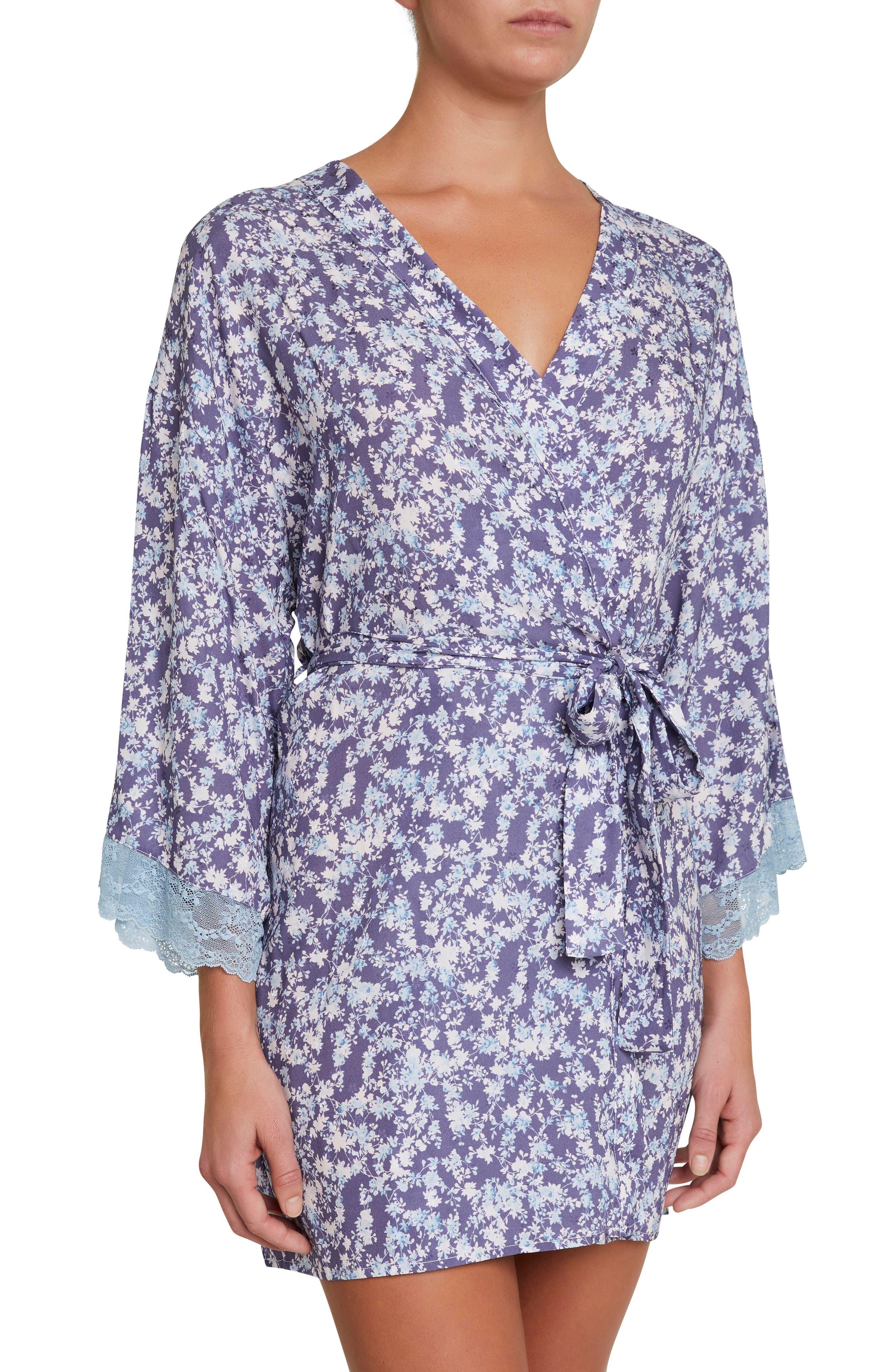 Lily Stretch Silk Short Robe,                             Main thumbnail 1, color,                             465