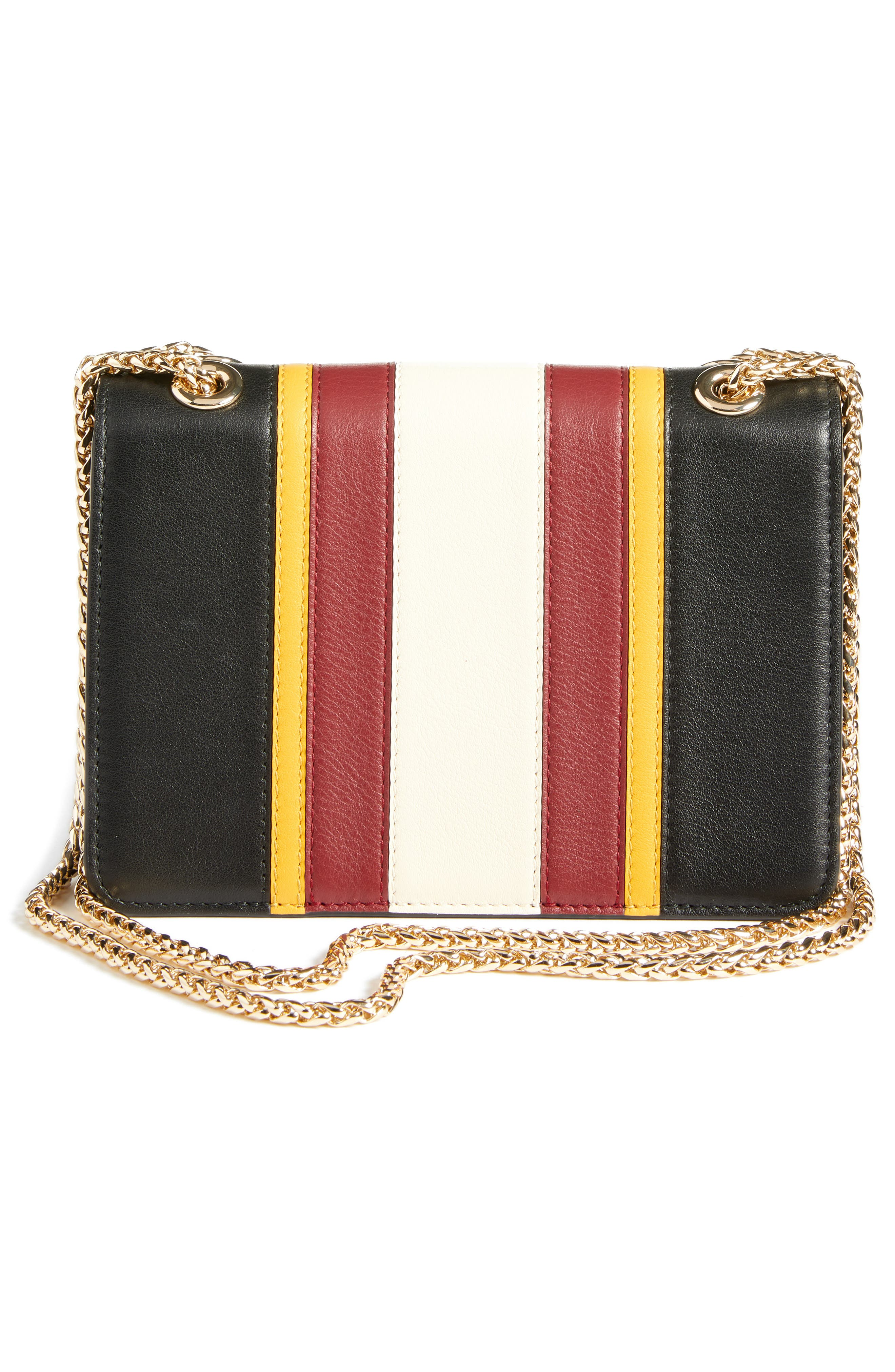 Mini East/West Stripe Leather Crossbody Bag,                             Alternate thumbnail 3, color,                             BLACK