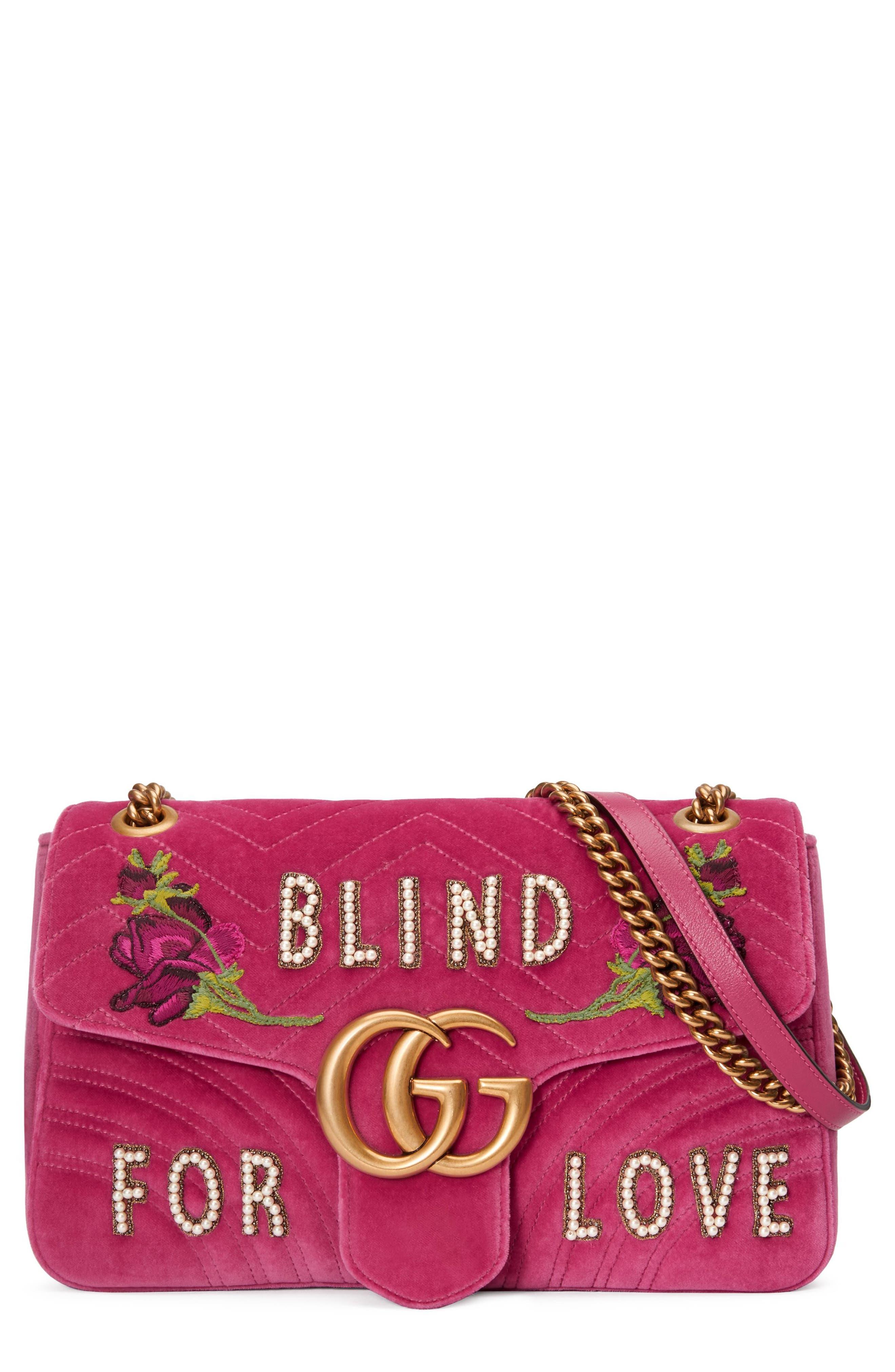 GG Marmont 2.0 Imitation Pearl Embellished Velvet Crossbody Bag,                             Main thumbnail 1, color,                             LIGHT RASPBERRY MULTI