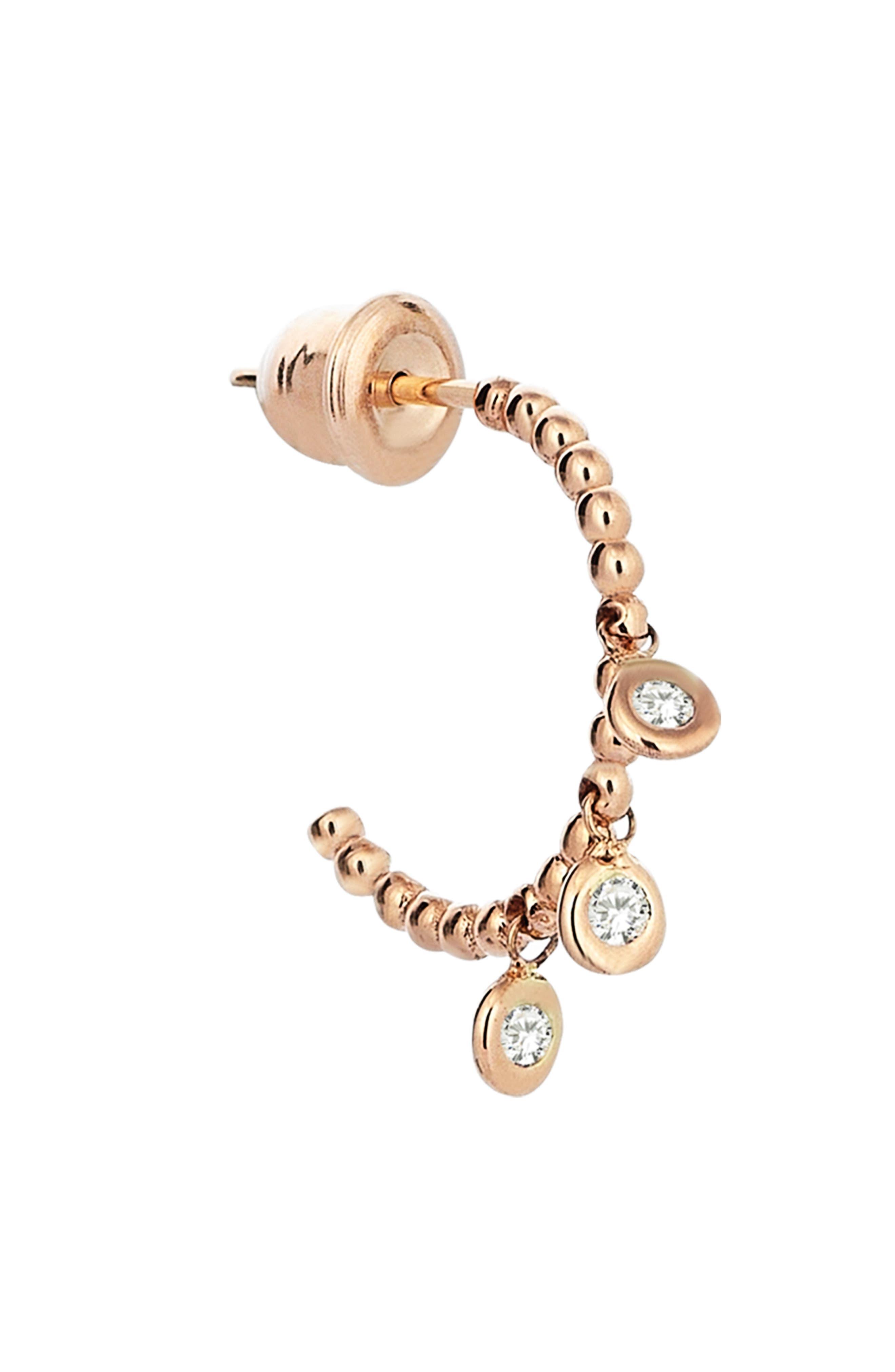 Diamond Hoop Earring,                             Alternate thumbnail 2, color,                             ROSE GOLD