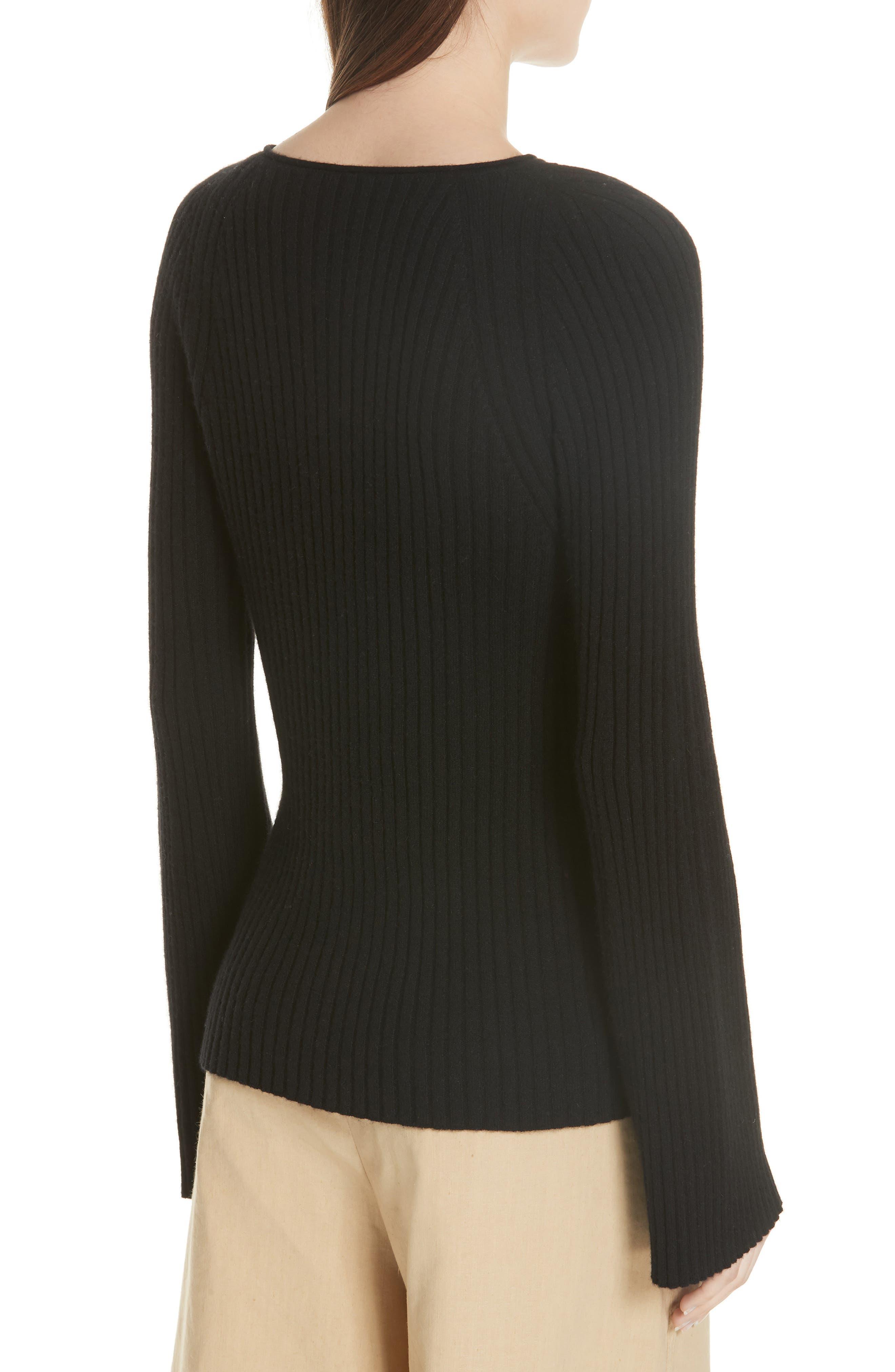 Shoulder Slit Cashmere Crewneck Sweater,                             Alternate thumbnail 2, color,                             BLACK