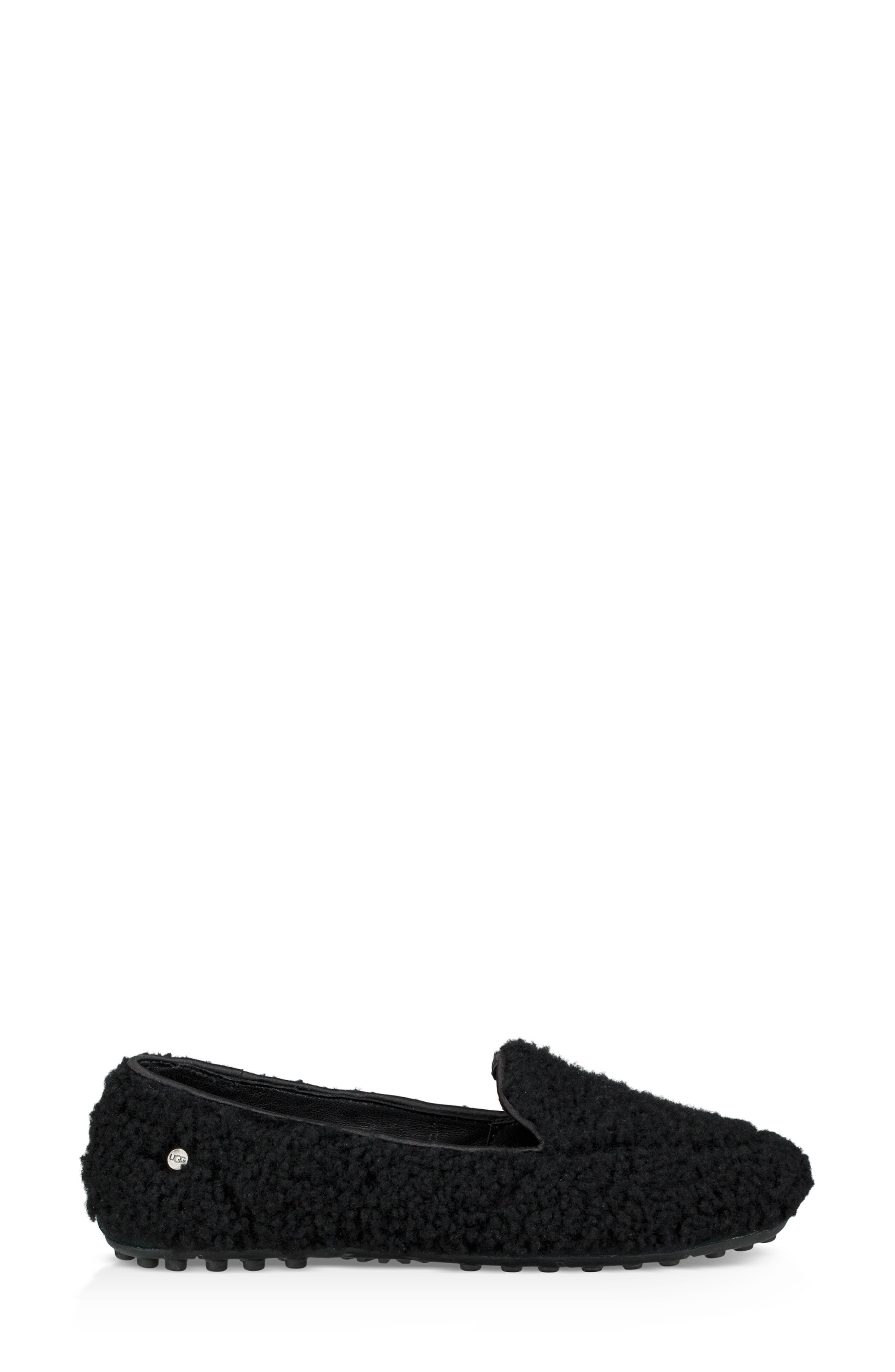 Hailey Fluff Genuine Shearling Slipper,                             Alternate thumbnail 3, color,                             BLACK