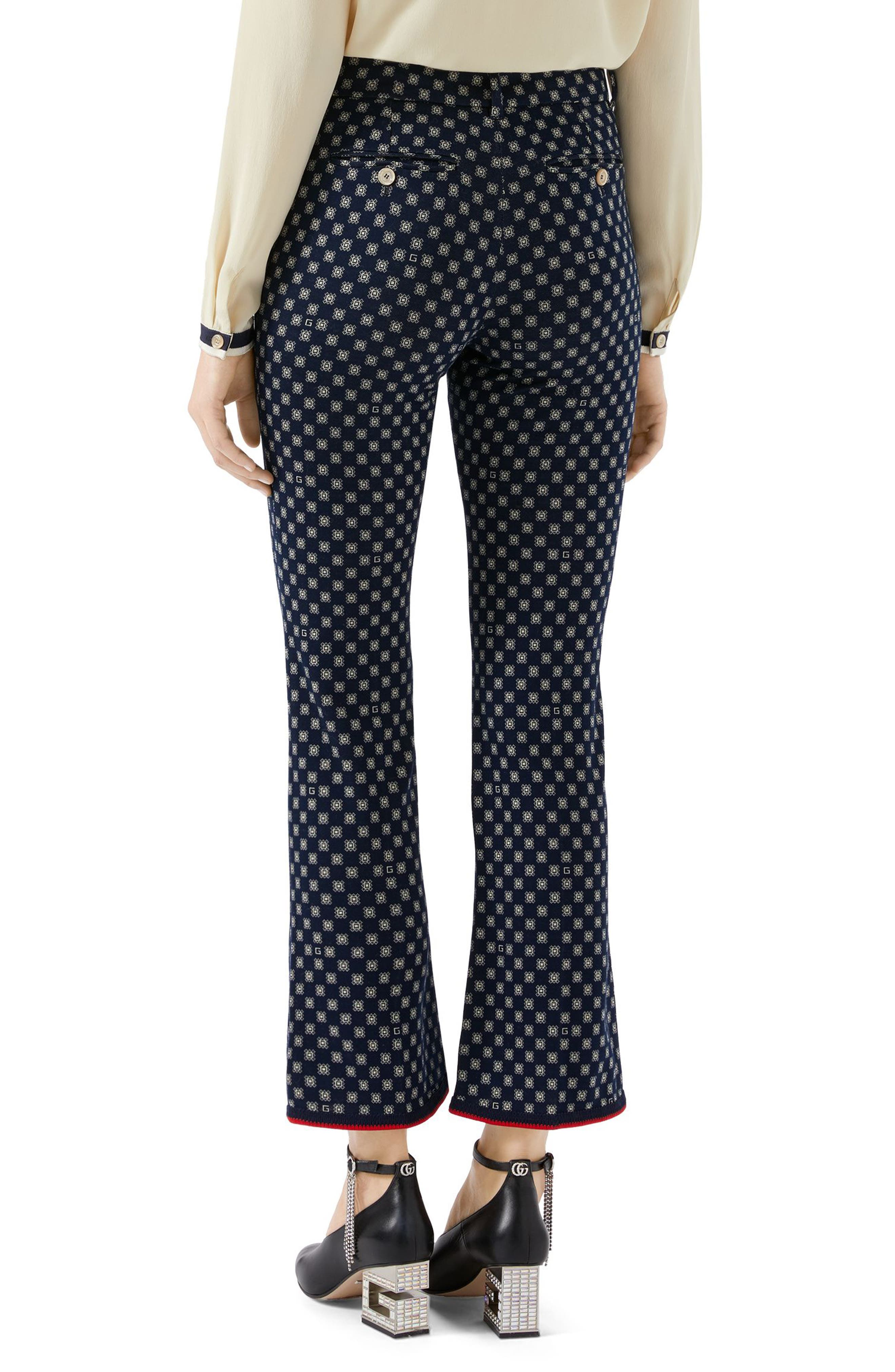 GUCCI,                             G-Frames Jersey Bootcut Pants,                             Alternate thumbnail 2, color,                             4819 CASPIAN/ BEIGE/ MC
