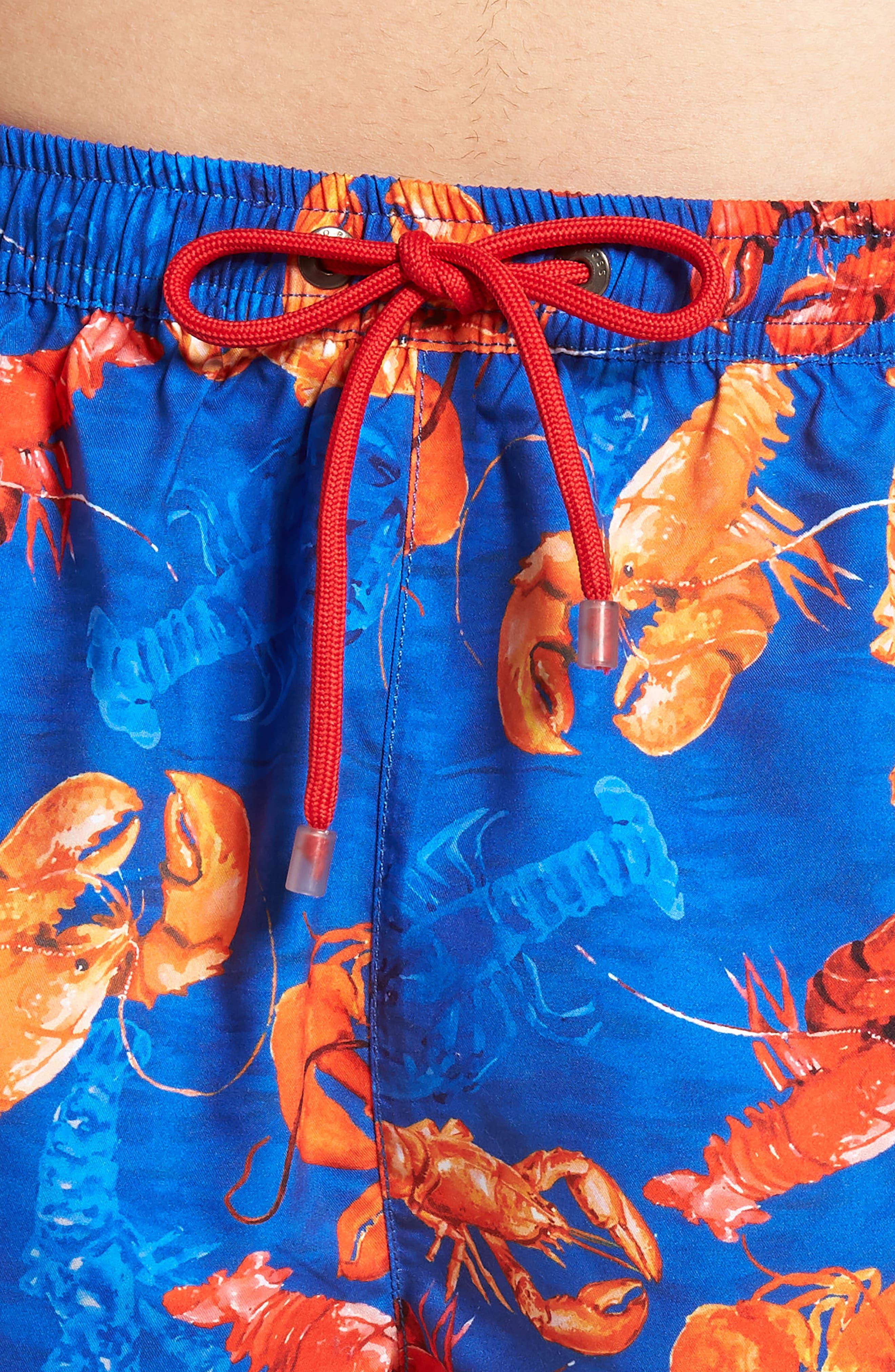 BOSS,                             Piranha Lobster Swim Trunks,                             Alternate thumbnail 4, color,                             460