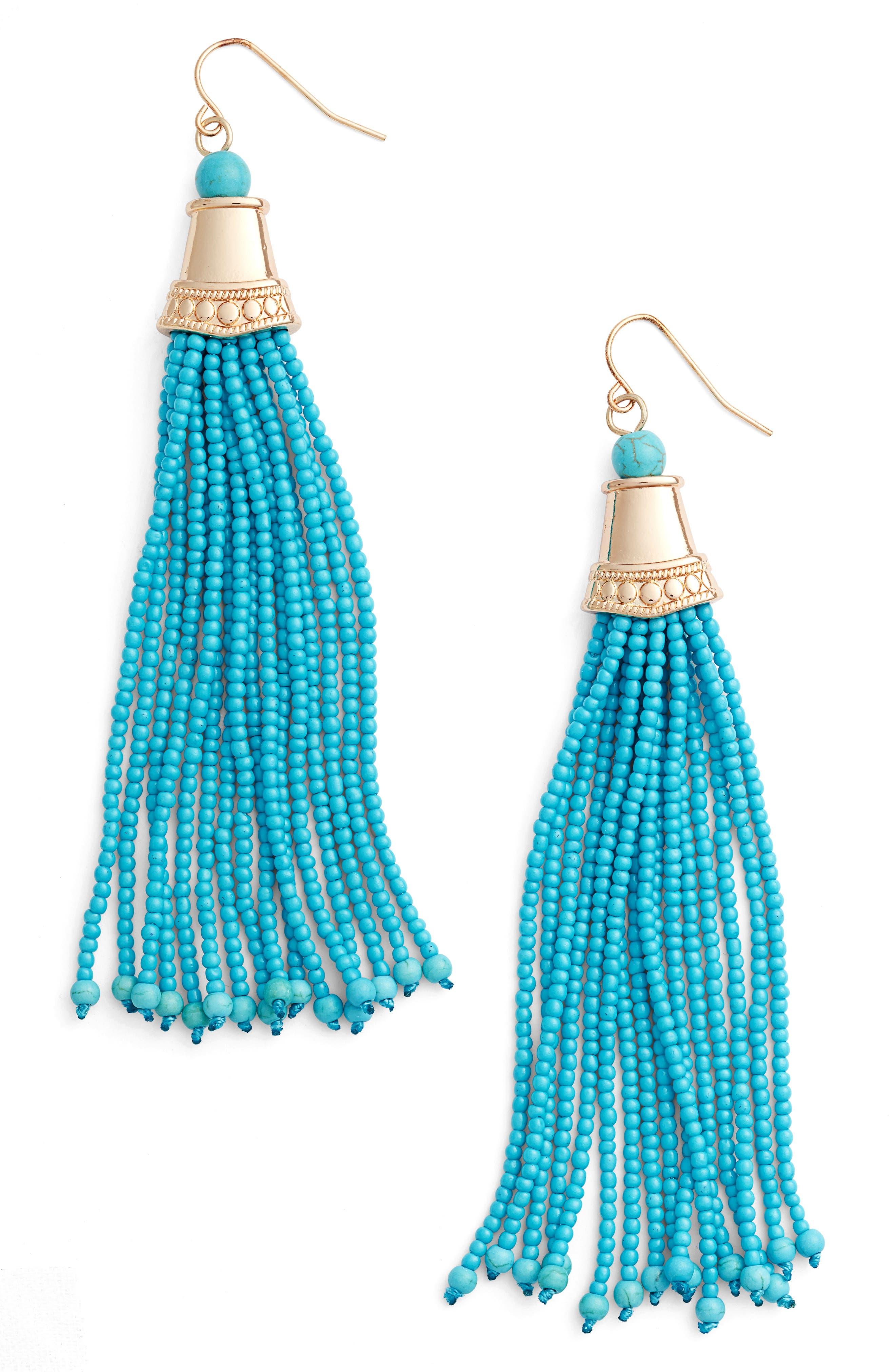 Beaded Tassel Earrings,                         Main,                         color, TURQUOISE